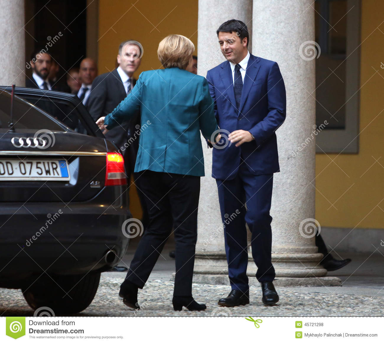 German Chancellor Angela Merkel And Italian Prime Minister Matte