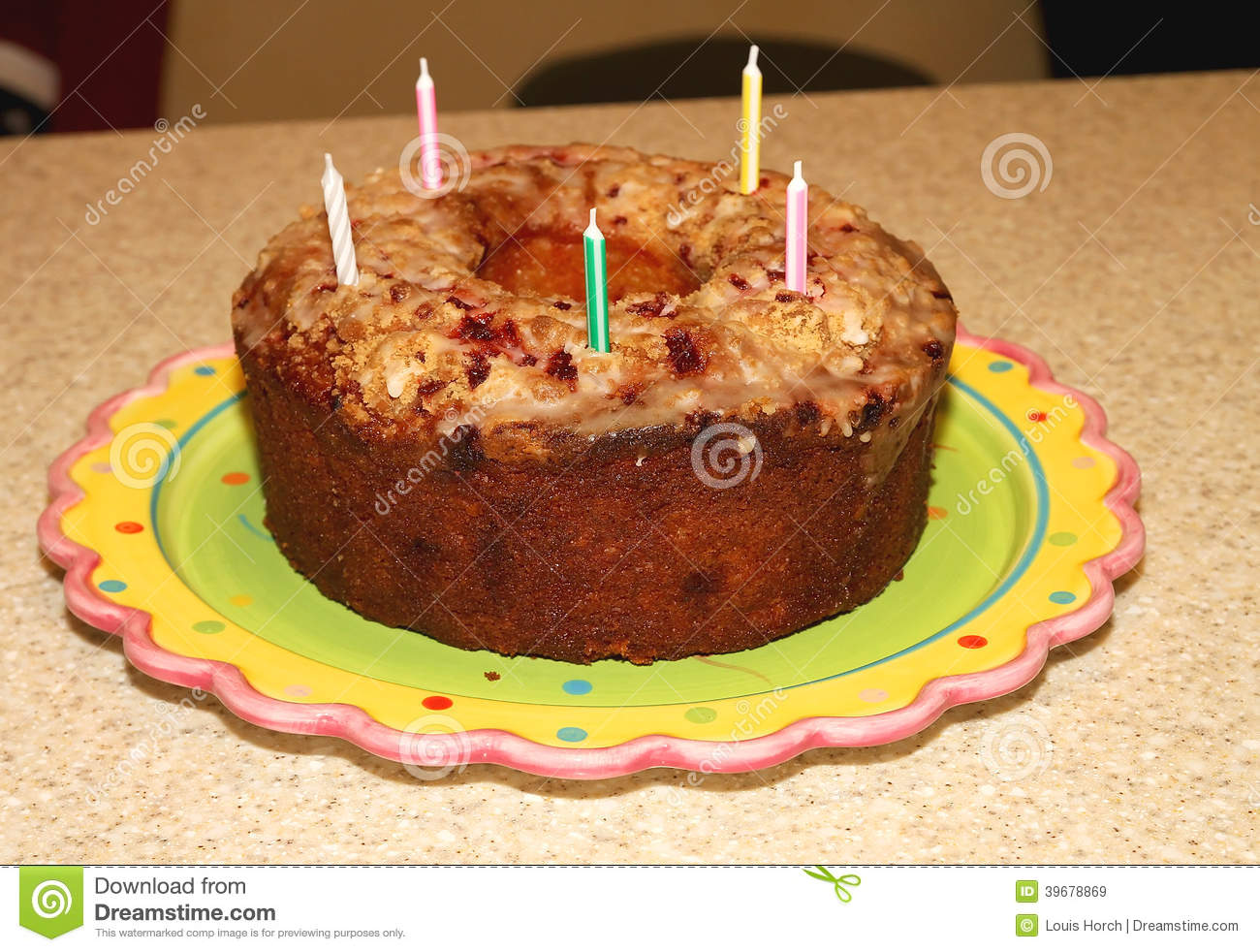German Chocolate Birthday Cake With Candles Stock Image Image Of