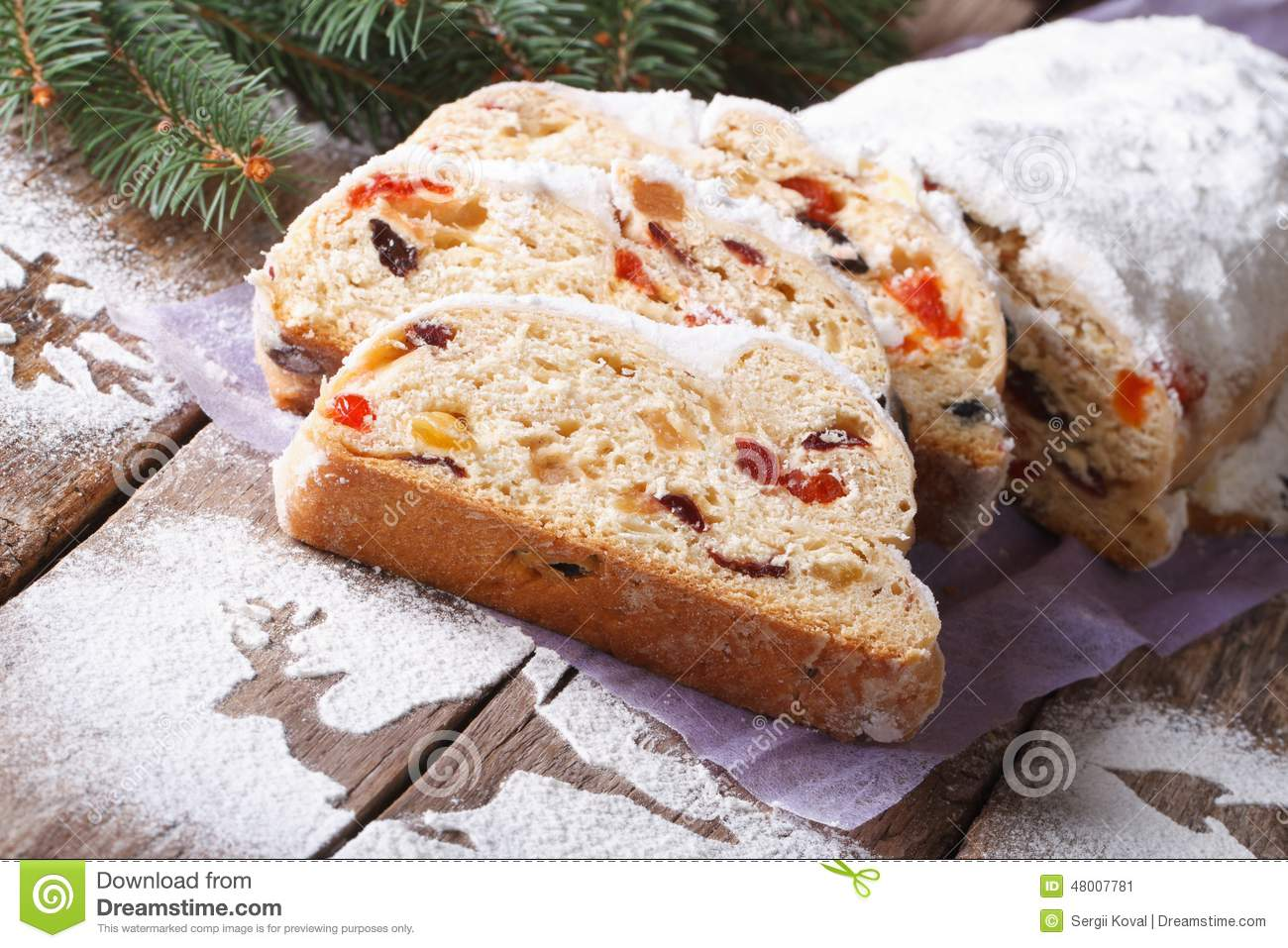 German Christmas Cake Stollen With Dry Fruits And Nuts Horizonta ...