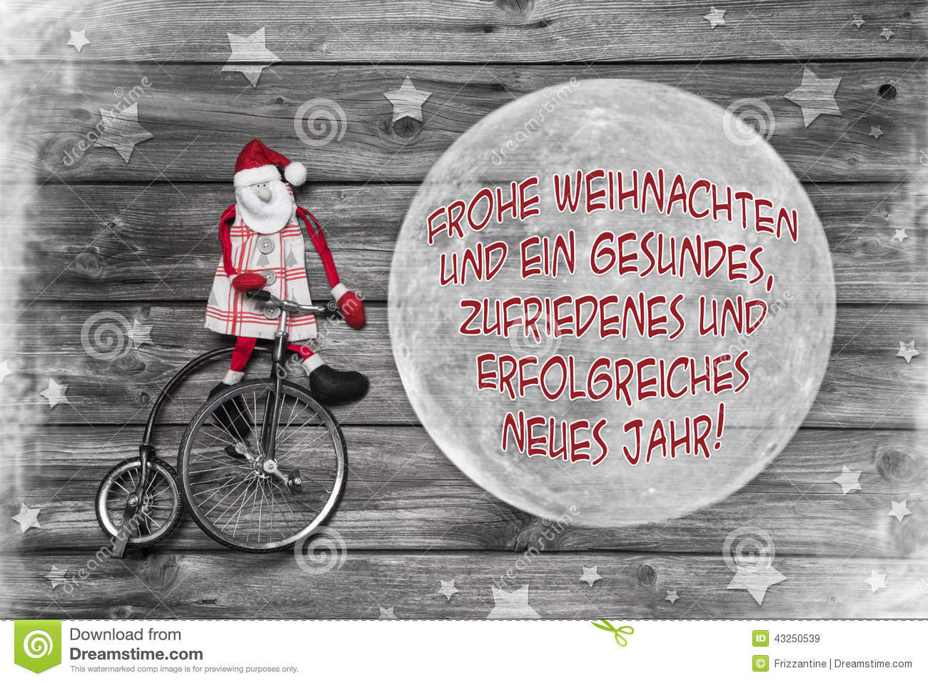 German Christmas Greeting Card With Text Merry Xmas And A Succes
