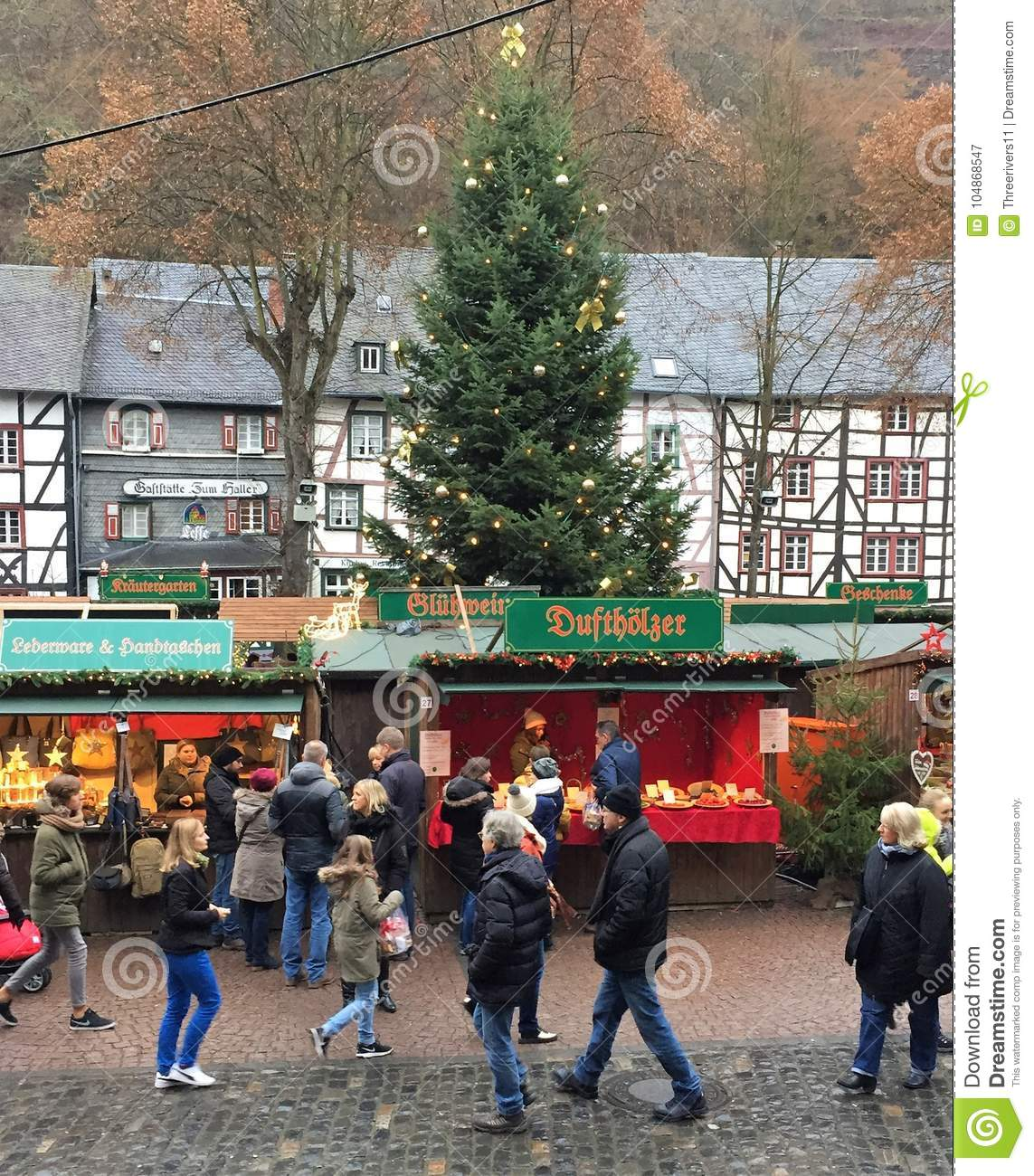 German Christmas Gifts.German Christmas Market With People Editorial Photography