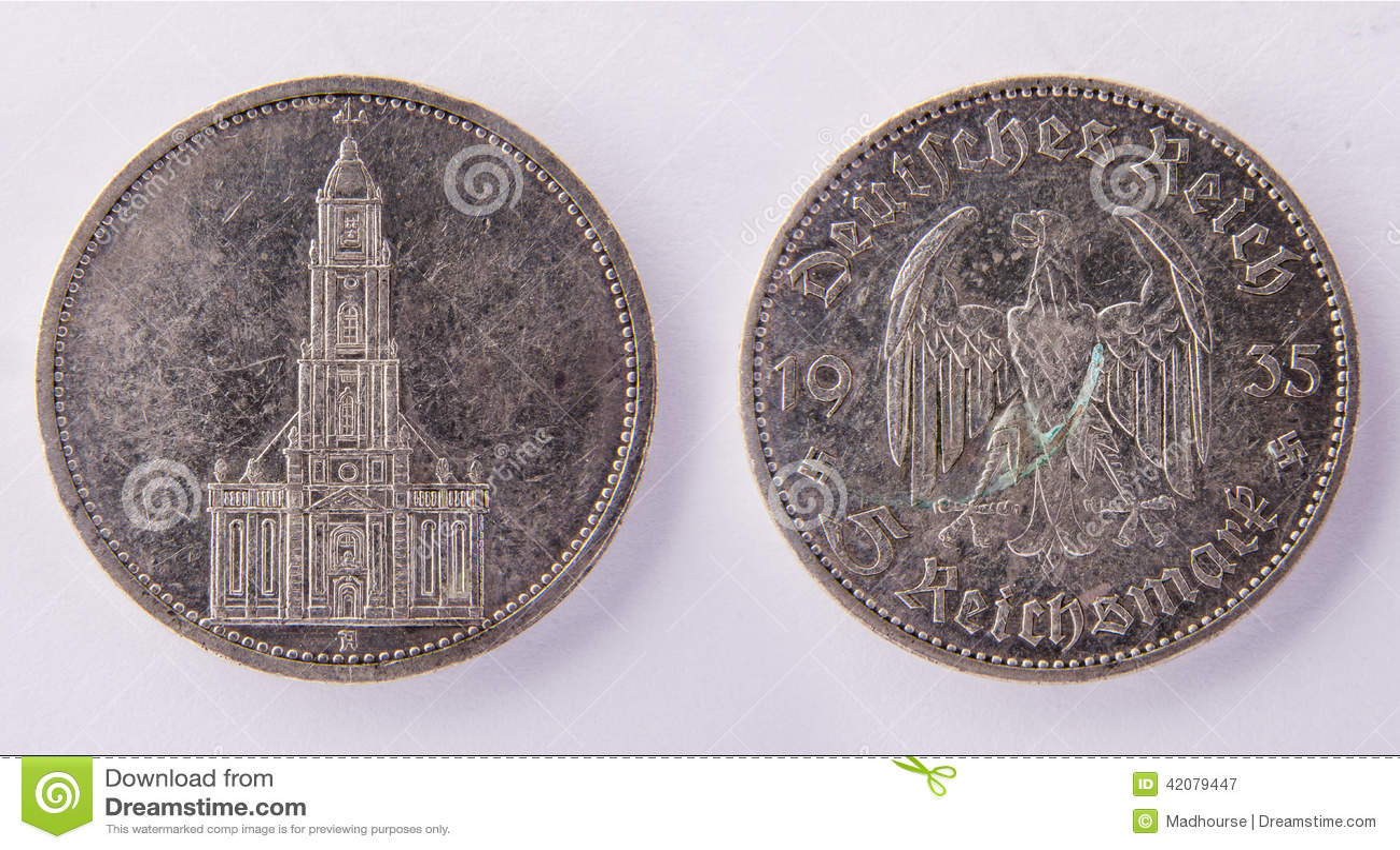 german coin 5 reichsmark 1935 stock photo image 42079447. Black Bedroom Furniture Sets. Home Design Ideas