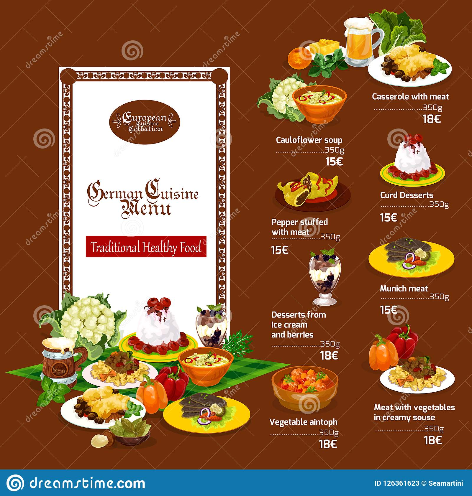 German Cuisine Menu With Restaurant Dishes Stock Vector