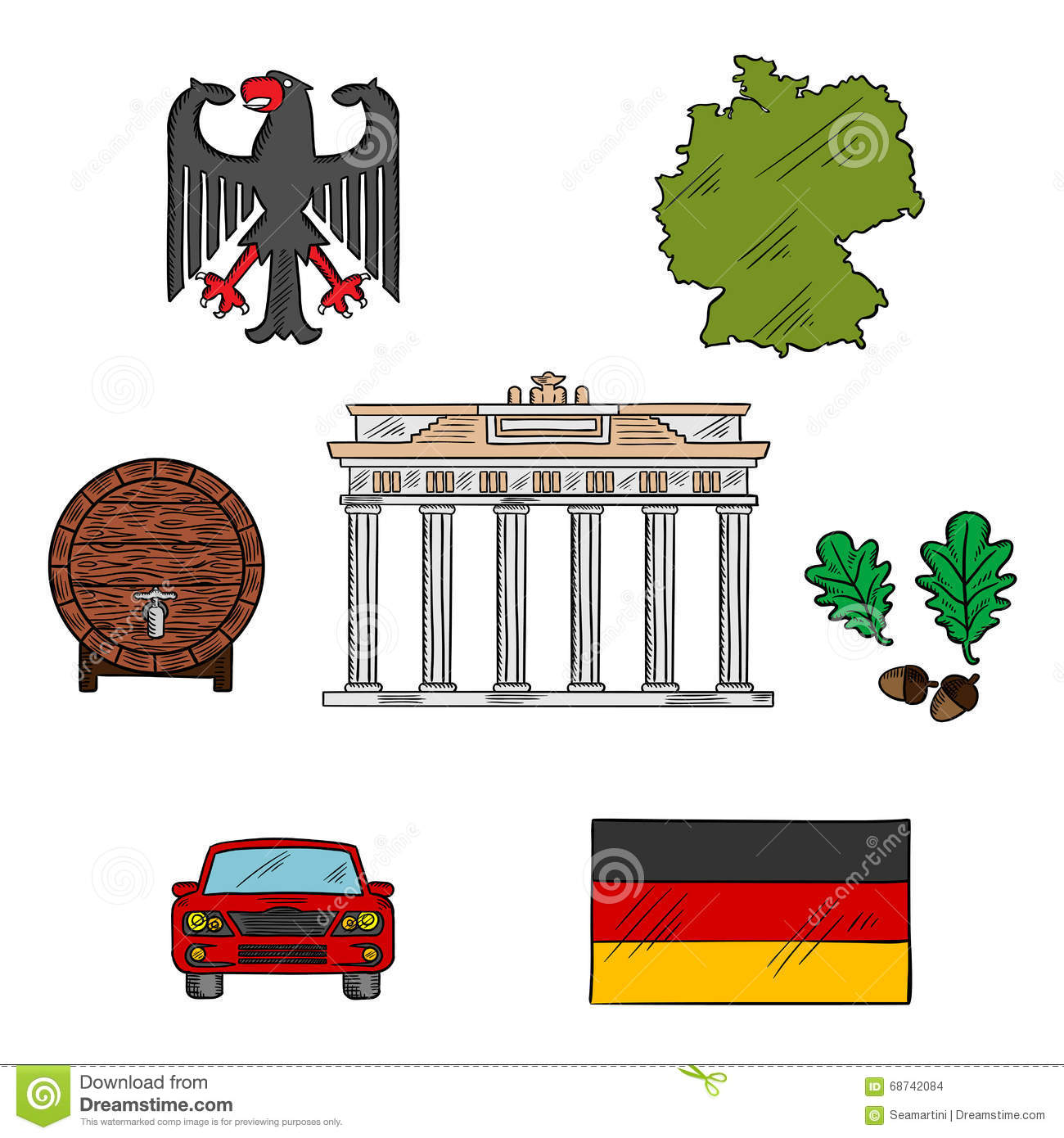 German Culture And Travel Icons Stock Vector Illustration Of
