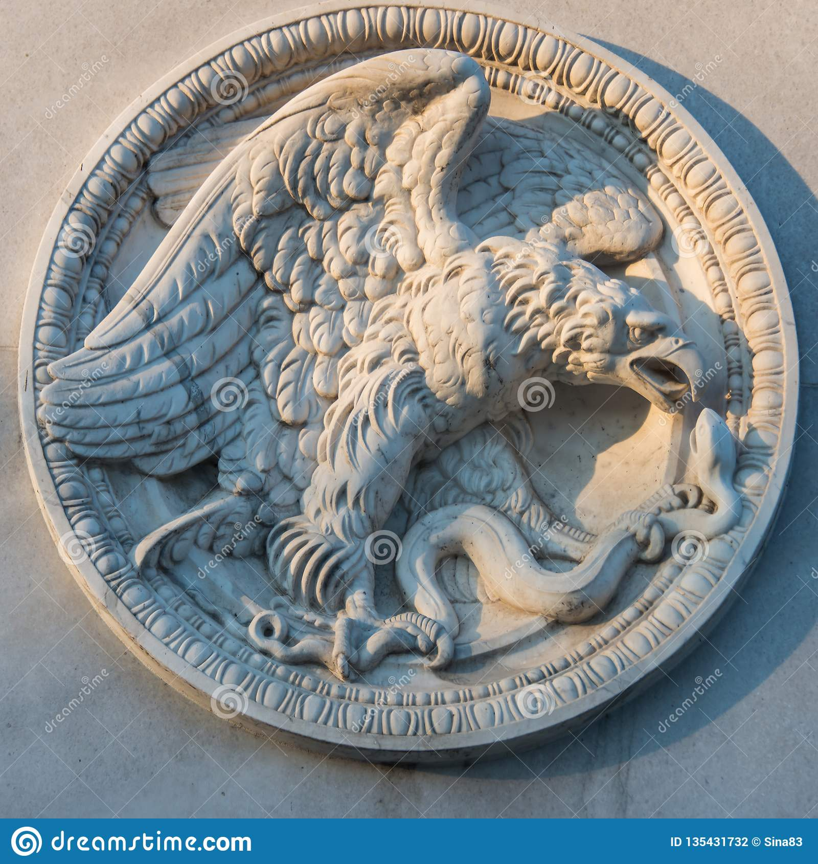 German round stone Eagle emblem