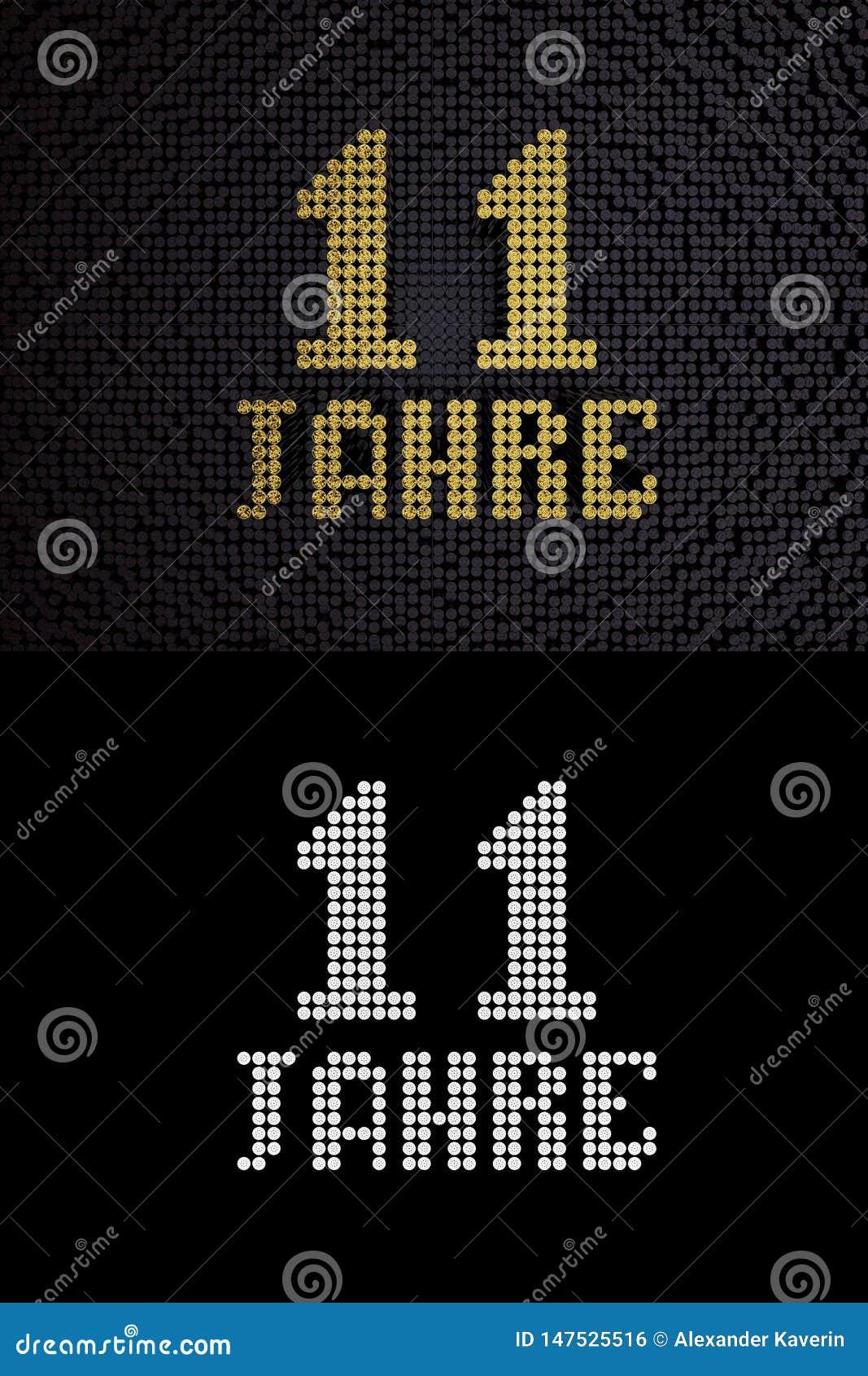 German golden number eleven years. 3D render