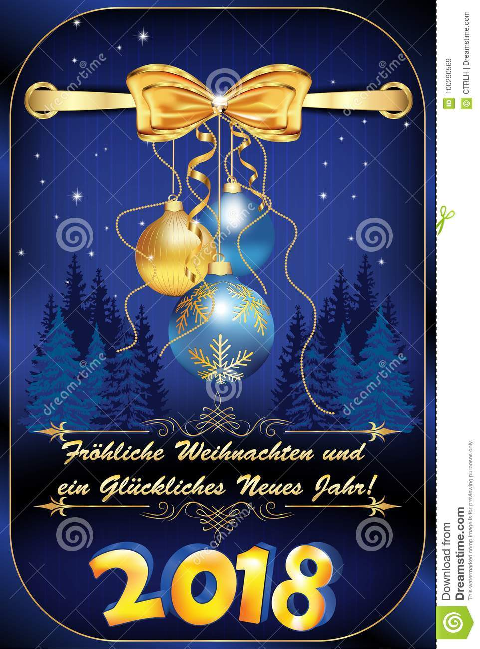 Wonderful German Greeting Card `Merry Christmas And Happy New Year` For The New Year  2018