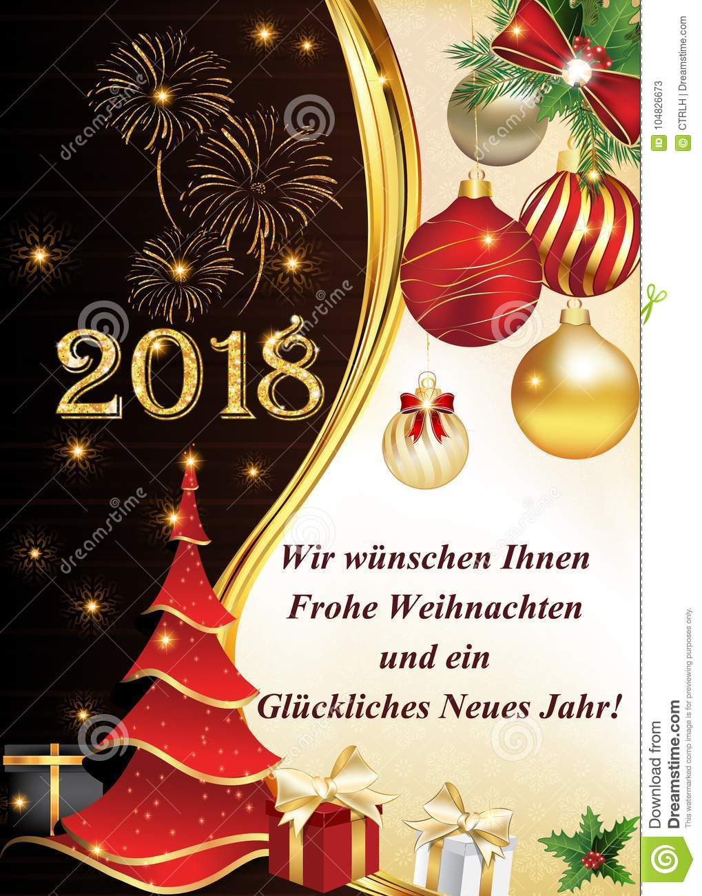 german greeting card we wish you a merry christmas and a happy new year