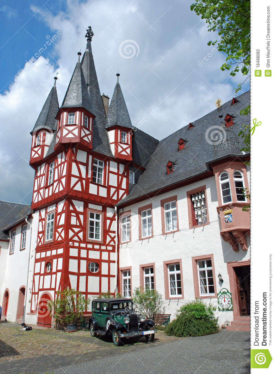 half timbered house with antique car rudesheim am rhein germany stock photo image of place. Black Bedroom Furniture Sets. Home Design Ideas