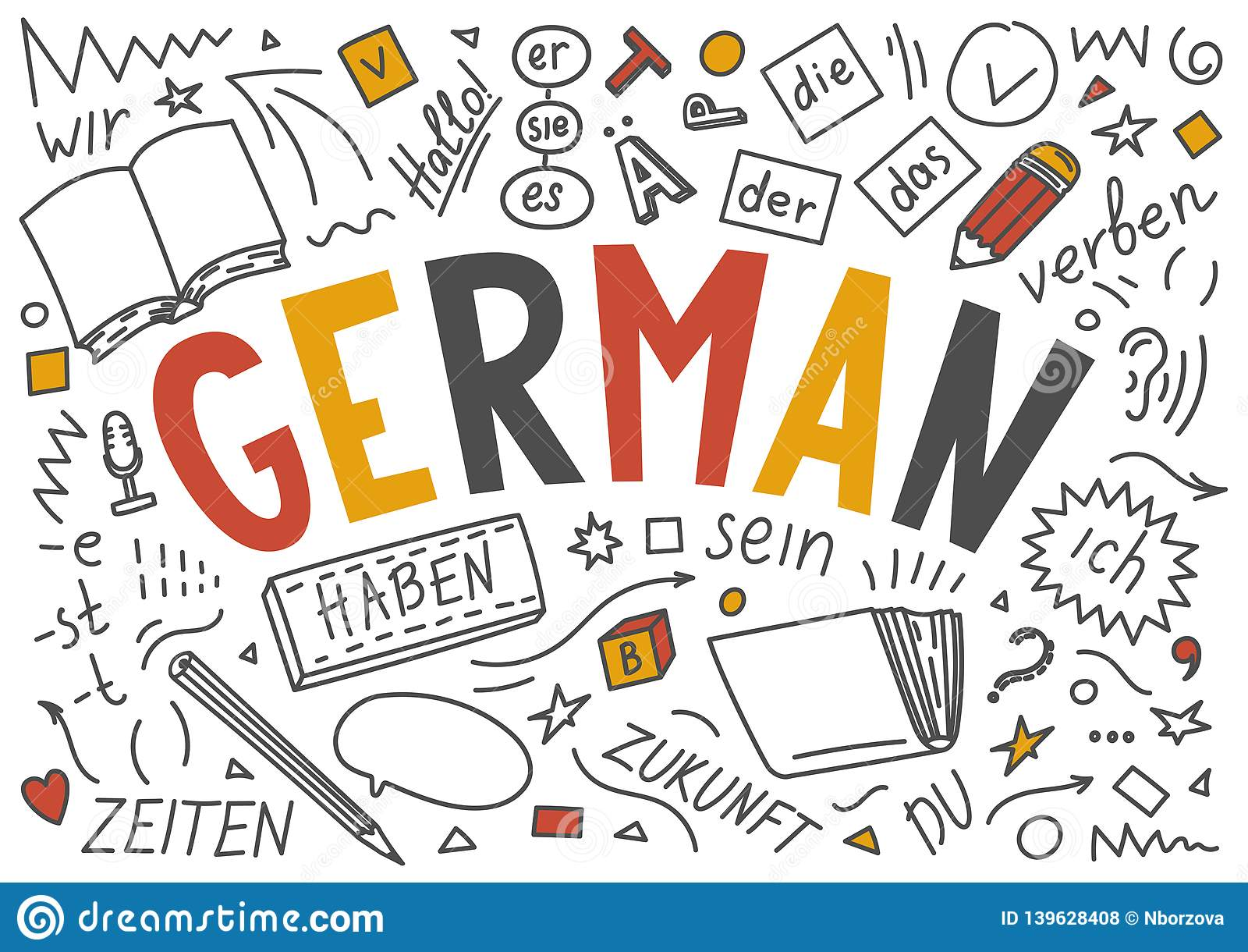 German Language Hand Drawn Doodles and Lettering. Stock Vector ...