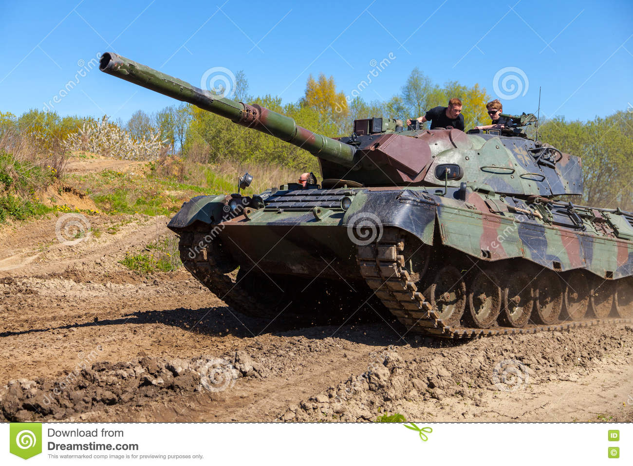 German Leopard 1 A 5 Tank Drives On Track Editorial
