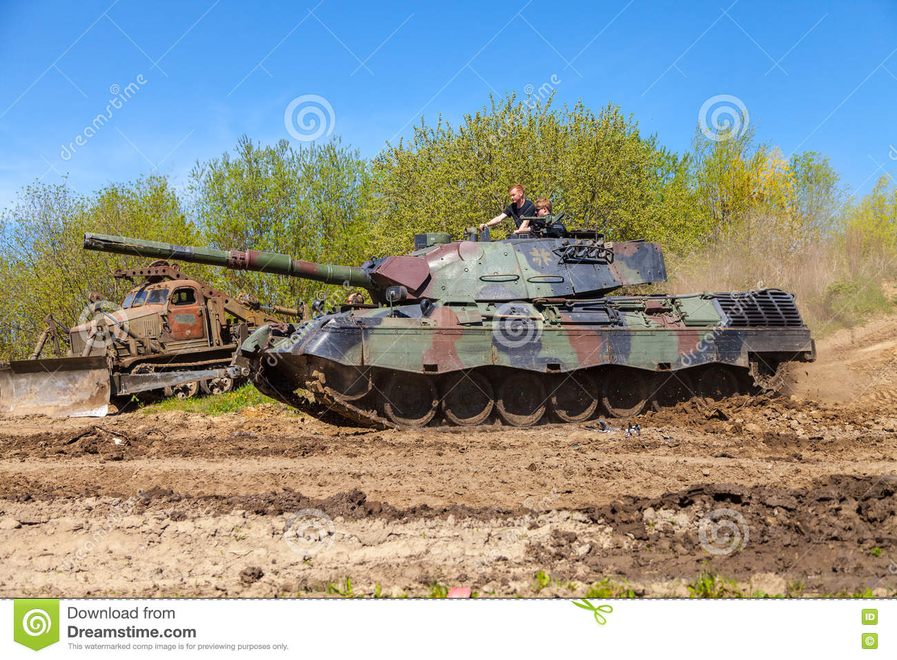 German Leopard 1 A 5 Tank Drives On Track Editorial Stock