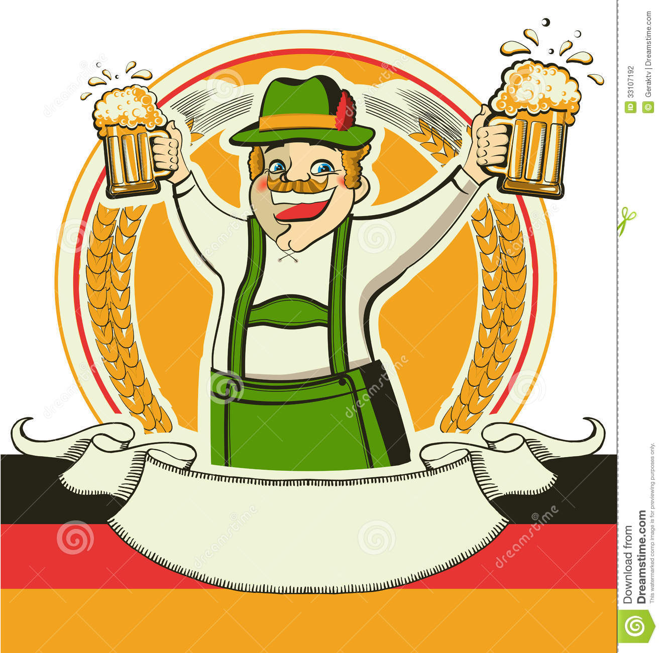 German Man And Glasses Of Beer.Vector Oktoberfest Stock Photography ...
