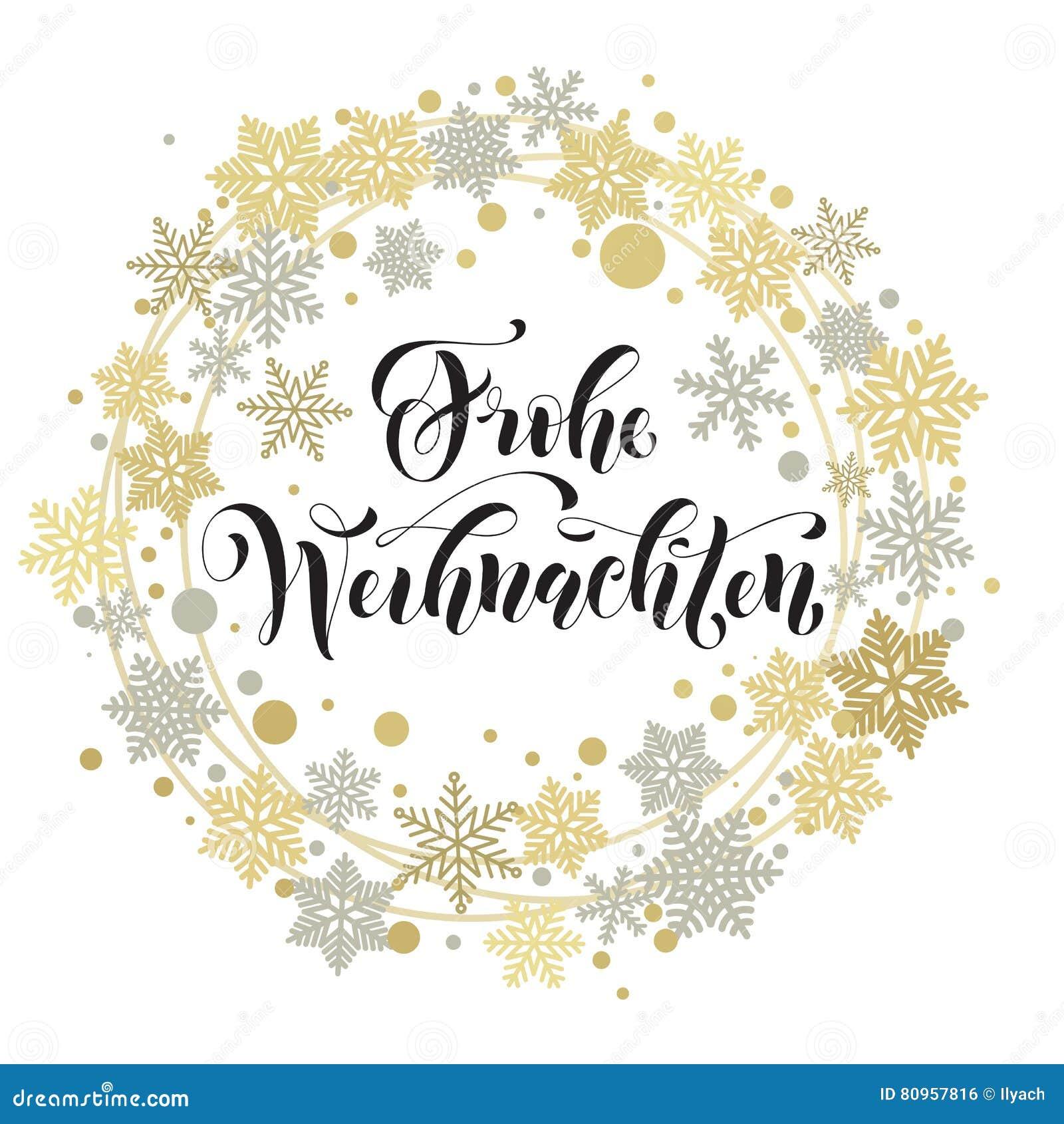 German Merry Christmas Text Weihnachten Greeting Card Stock