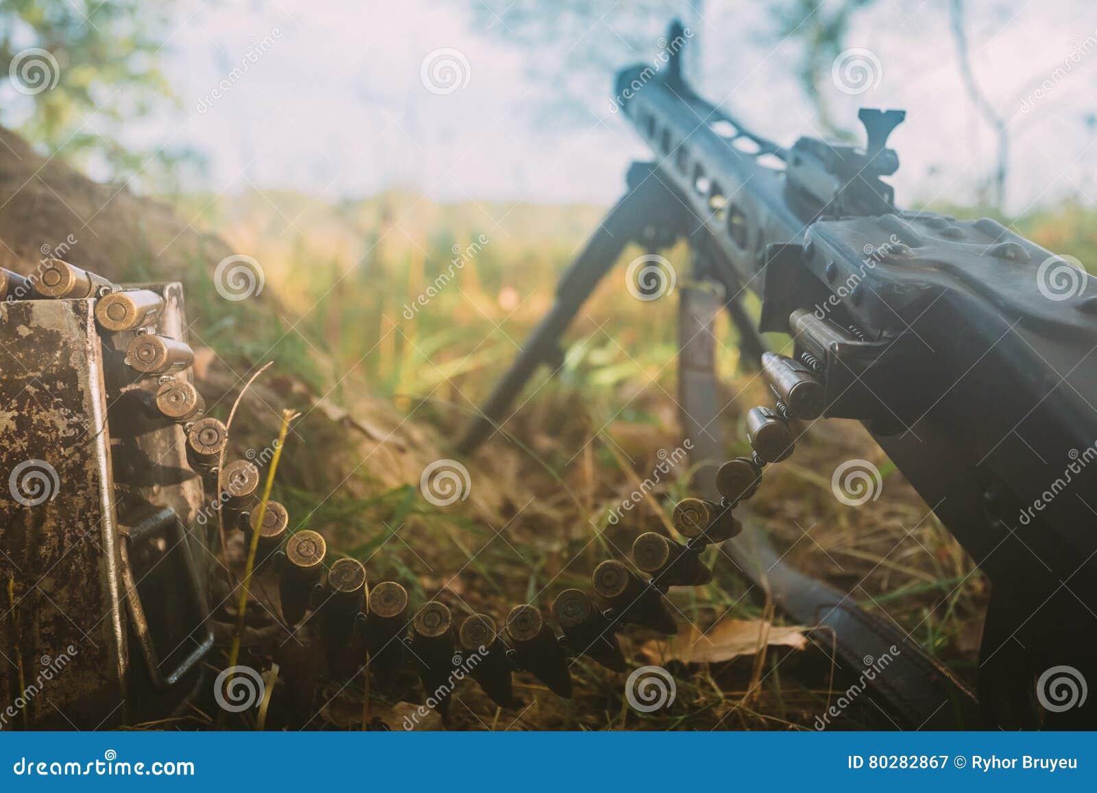 German Military Ammunition - Machine Gun Of World War II On Ground