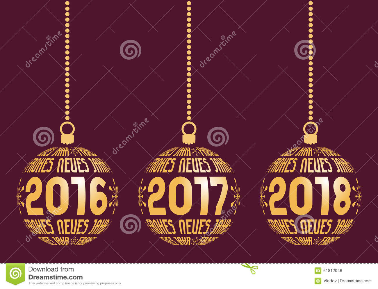 german new year elements for years 2016 2018