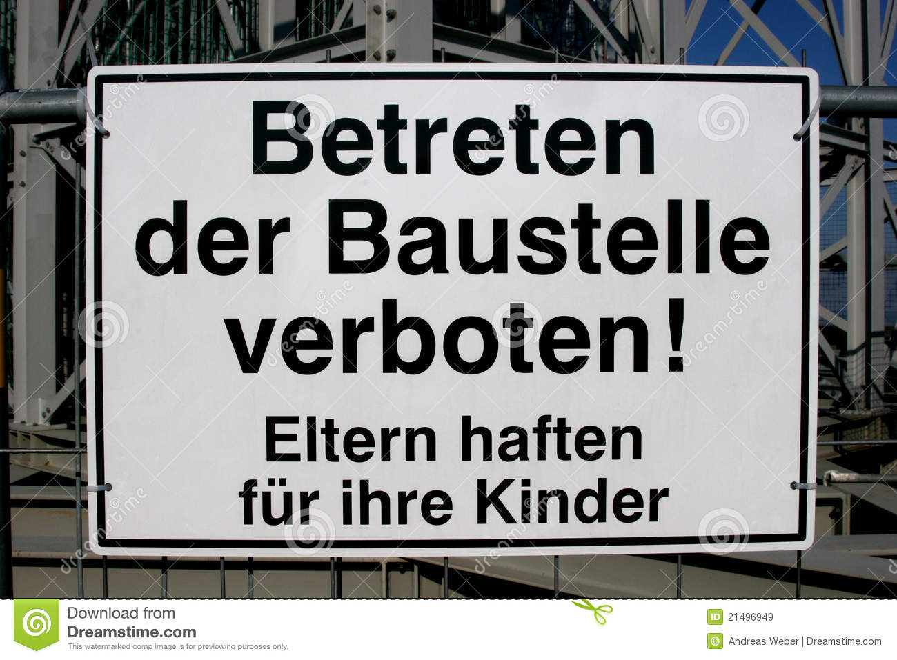 German No Entry Sign At A Building Site Royalty Free Stock