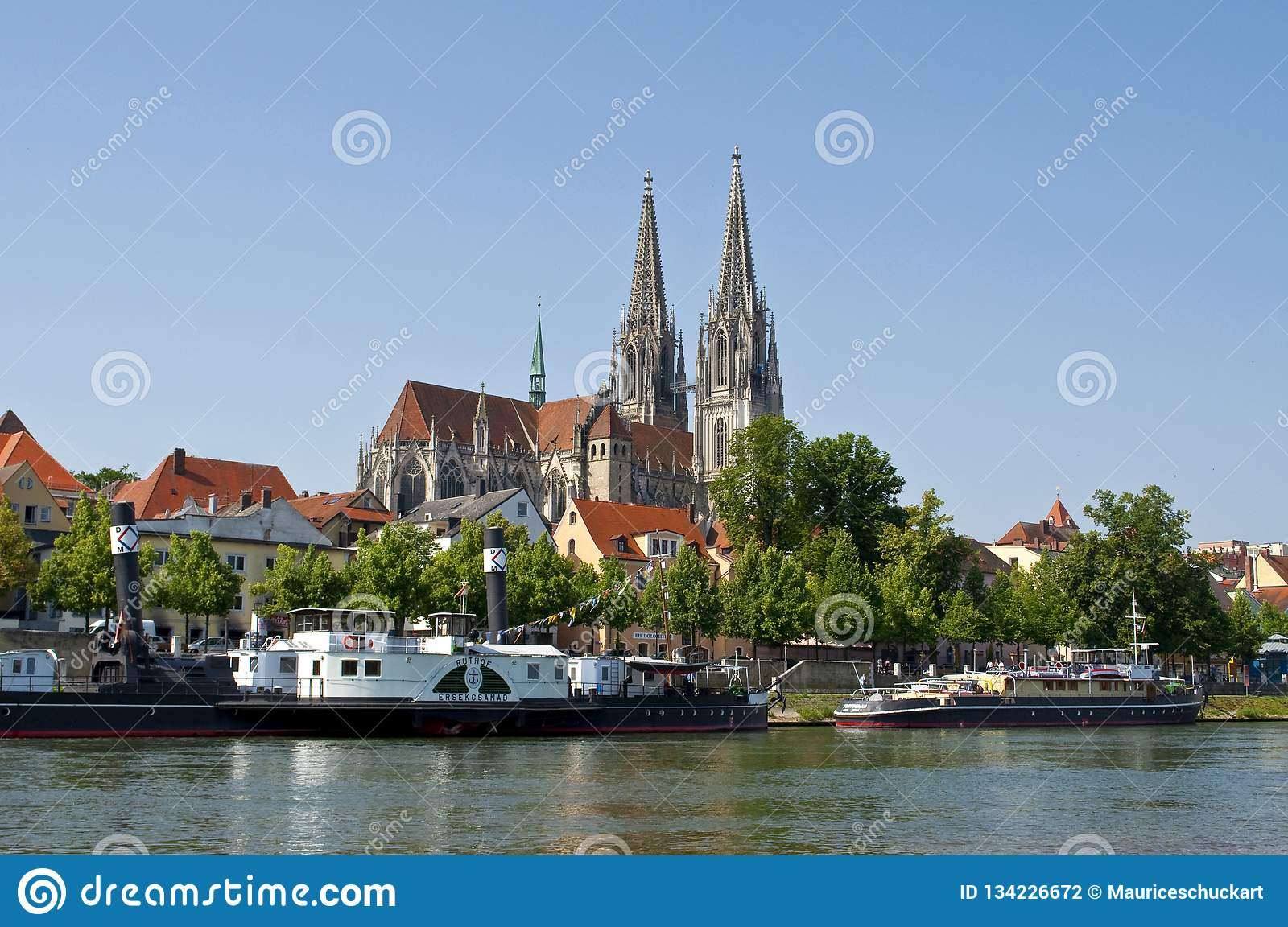 German old town Regensburg at the river Danube