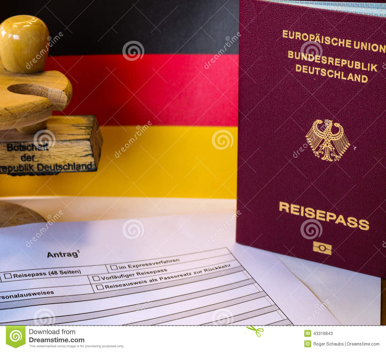 German Passport Application Form With Passport Stock Image Image