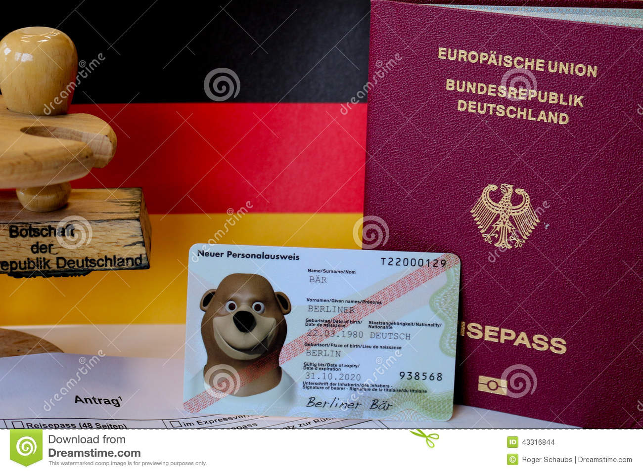 German Passport Application Form With Passports Stock Photo Image