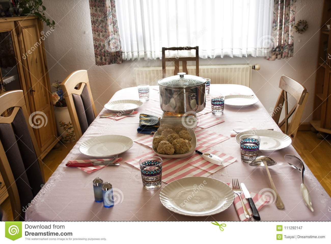german people preparing lunch food germany style on table in dining