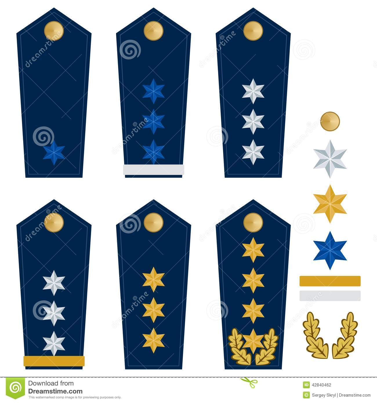 Military ranks and insignia of the world. Illustration on white ...