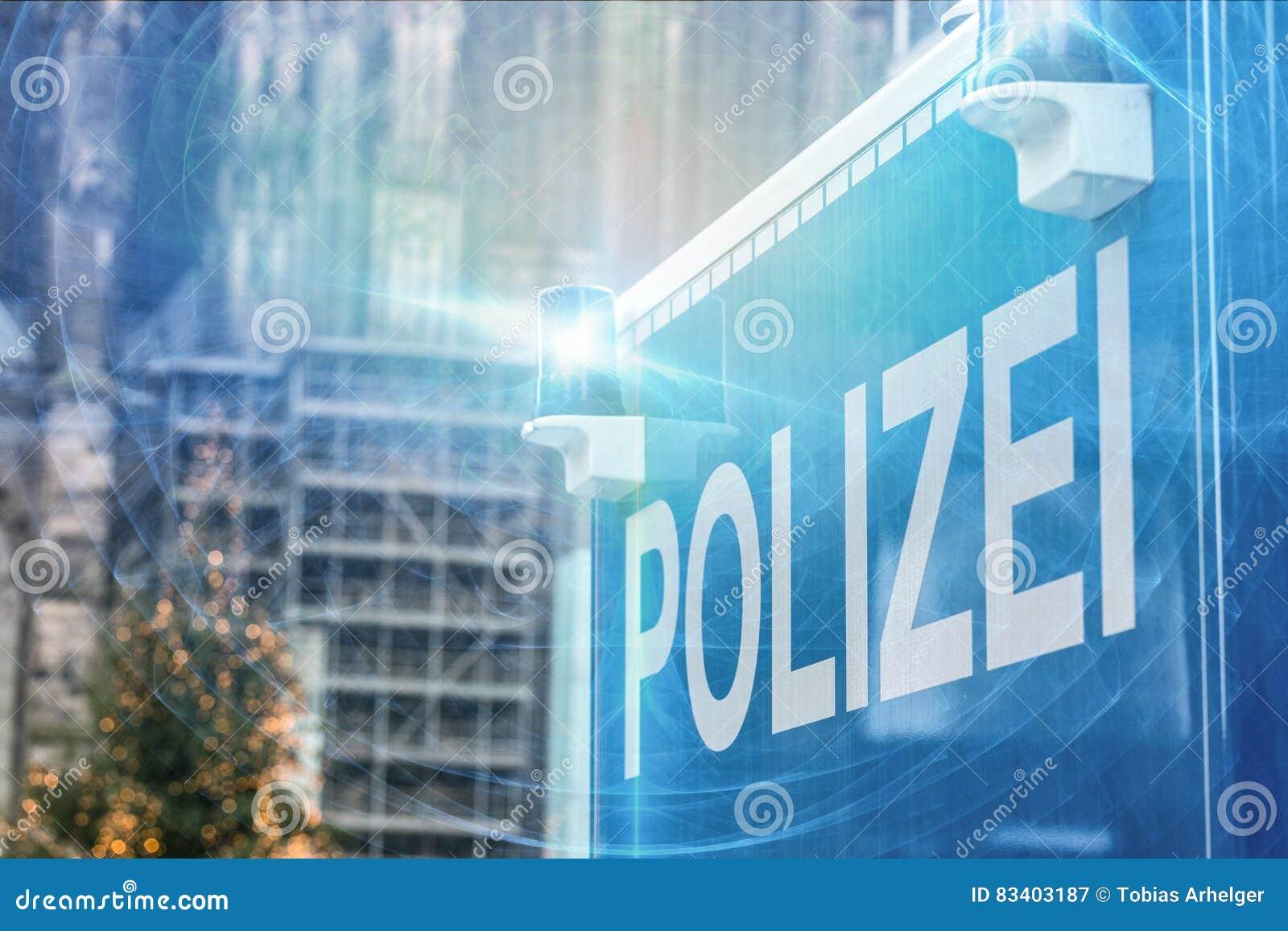 German police sign blue warning light