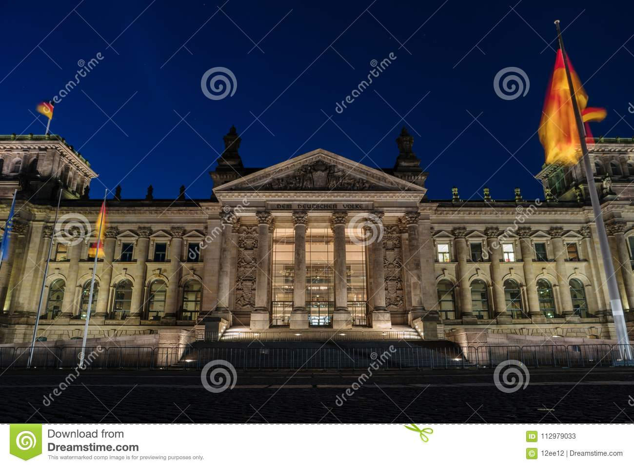 German Reichstag building at night, Berlin Germany