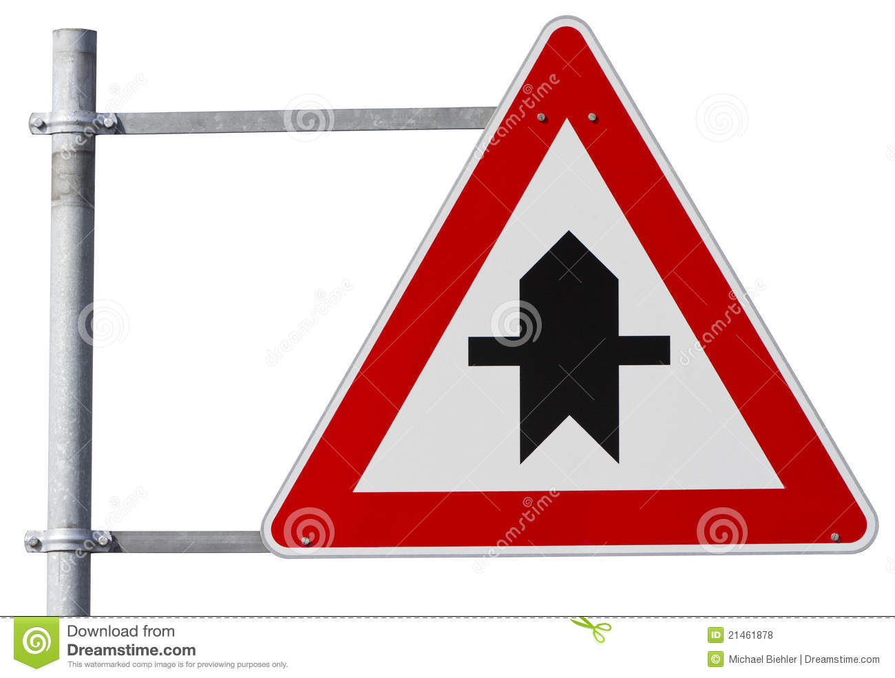 German right of way sign (clipping path included)