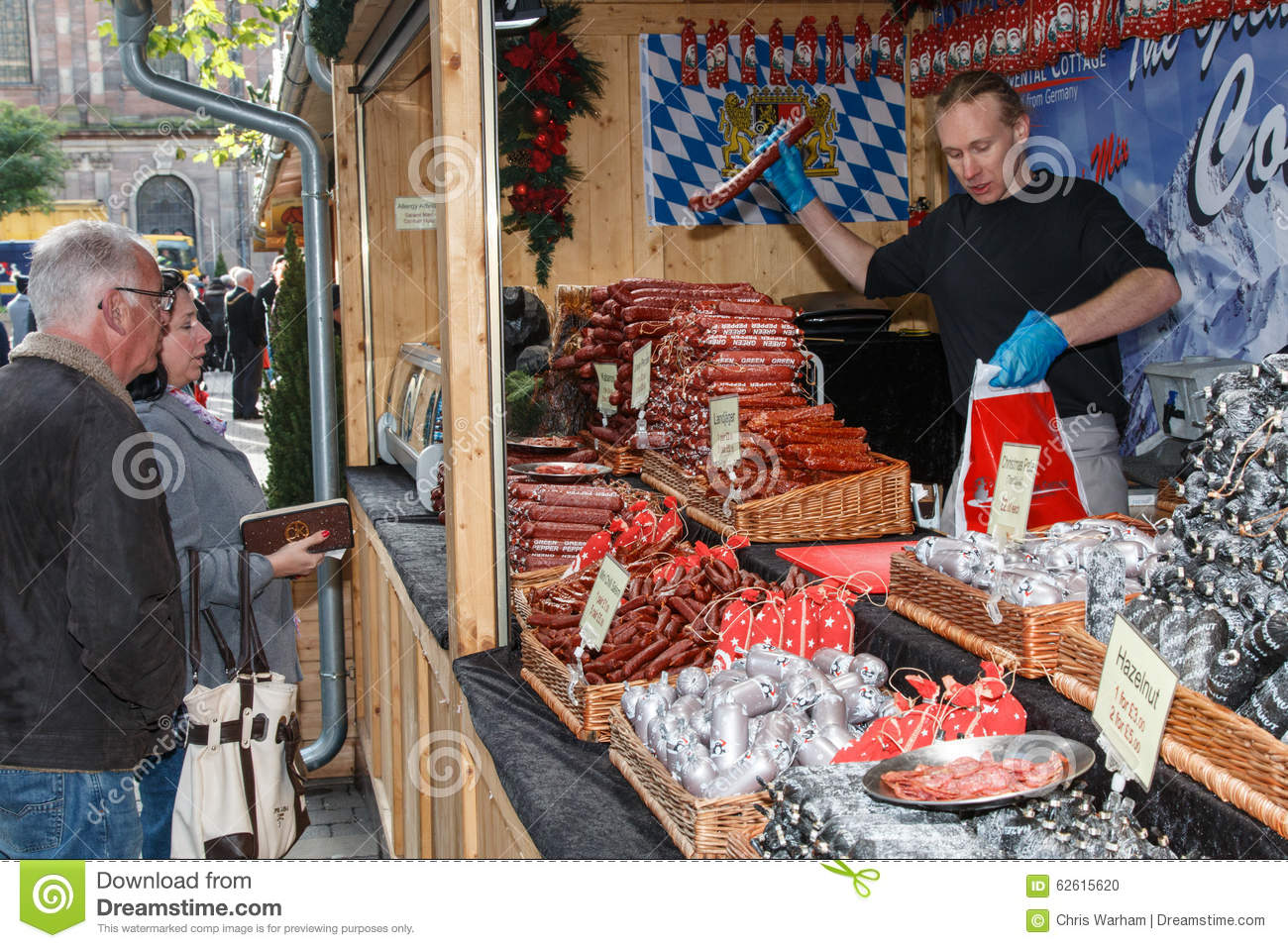 German Sausages Being Sold To Visitors At A Christmas Market