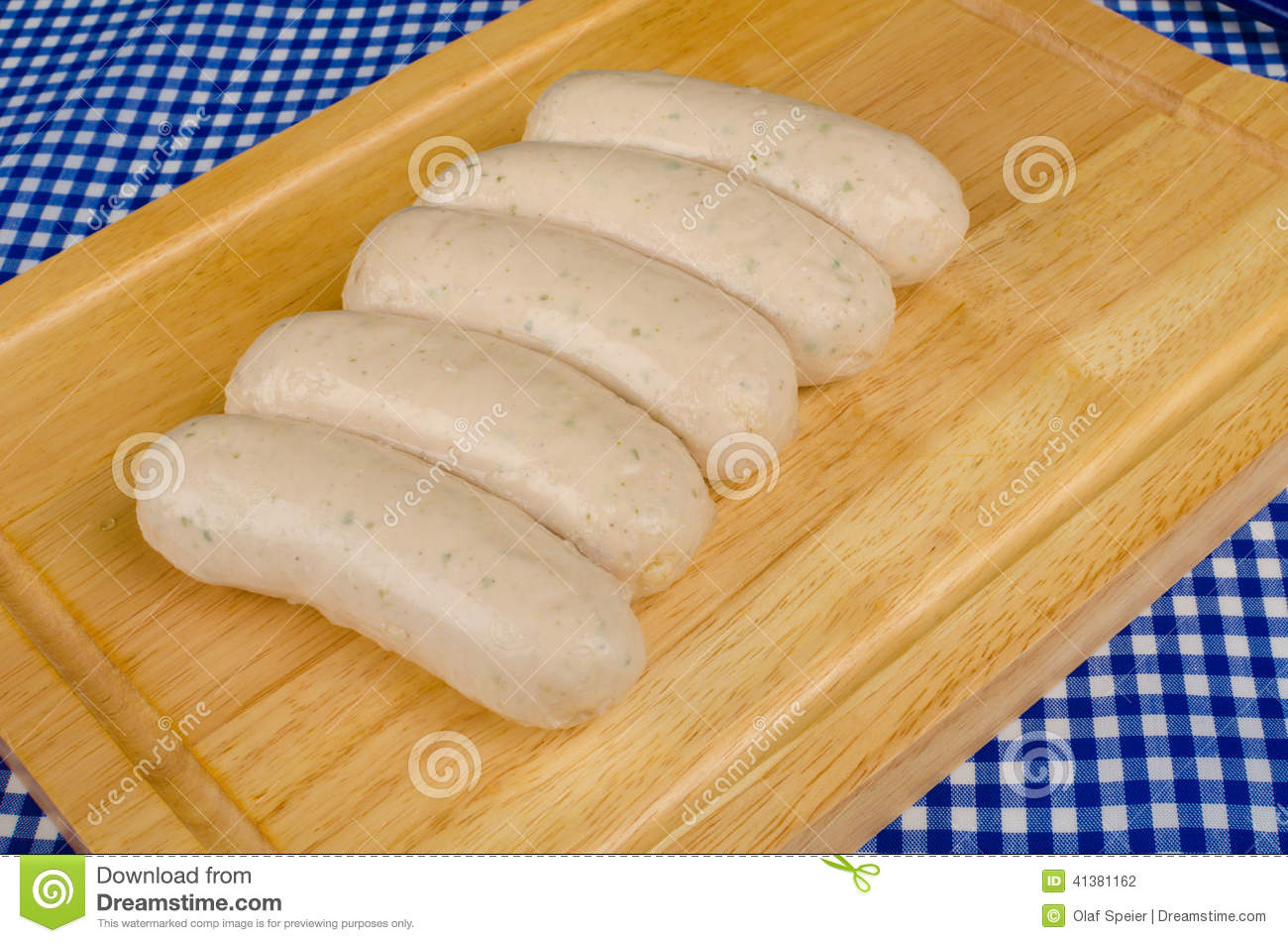 German Sausages On Chopping Board Stock Photo Image Of Meat Weisswurst 41381162