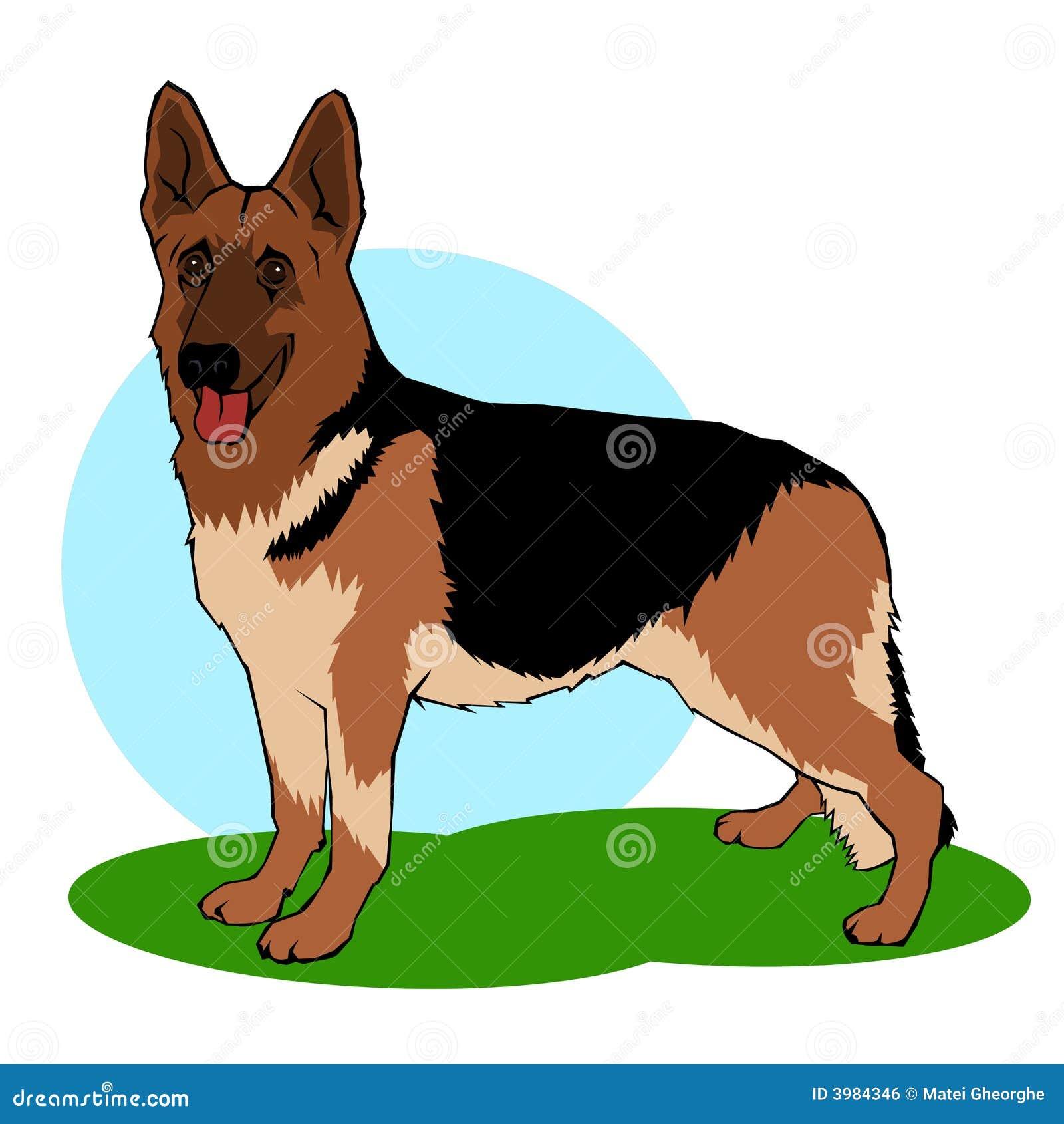 German shepherd dog coloring book stile illustration