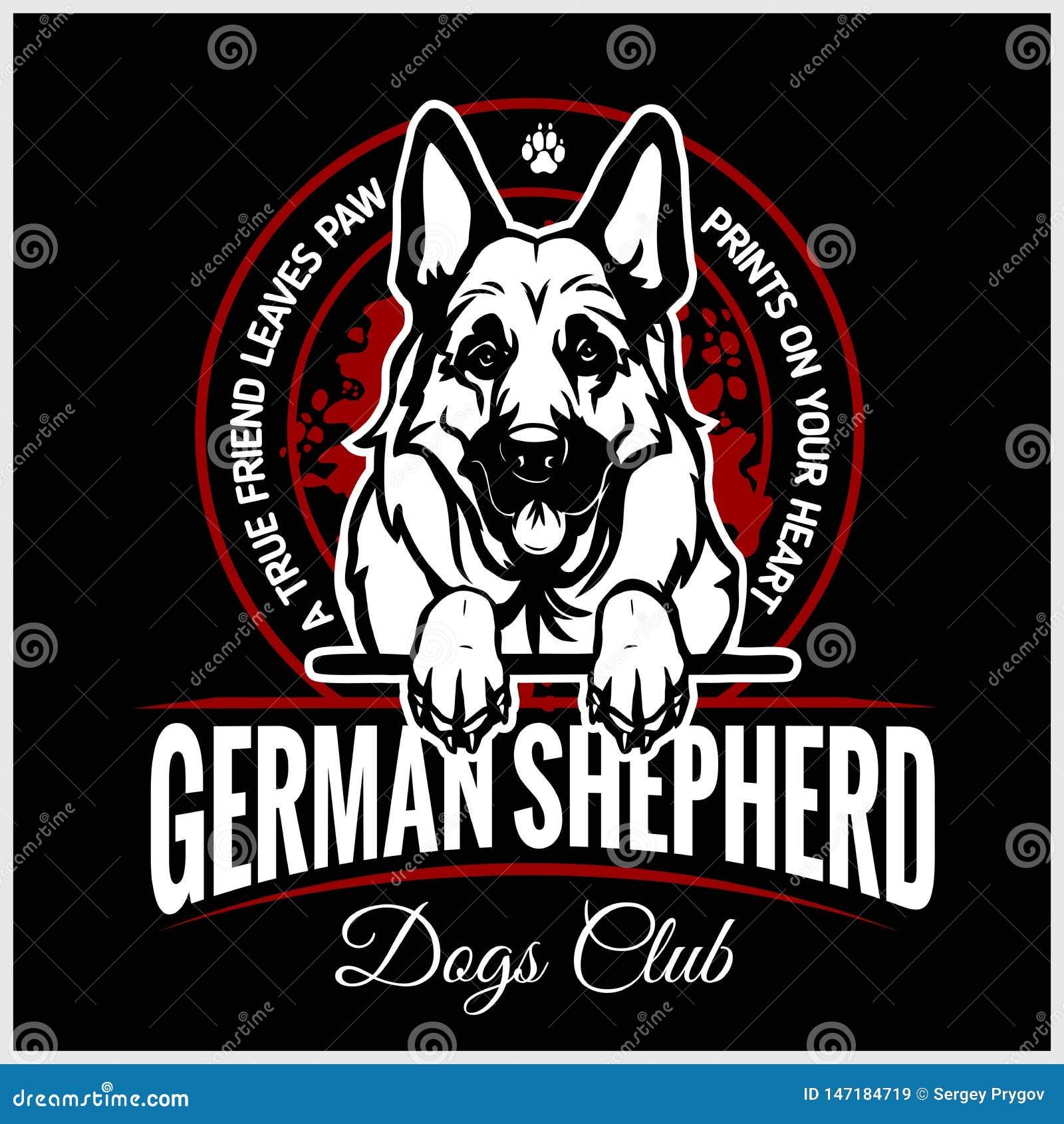 German Shepherd - vector illustration for t-shirt, logo and template badges