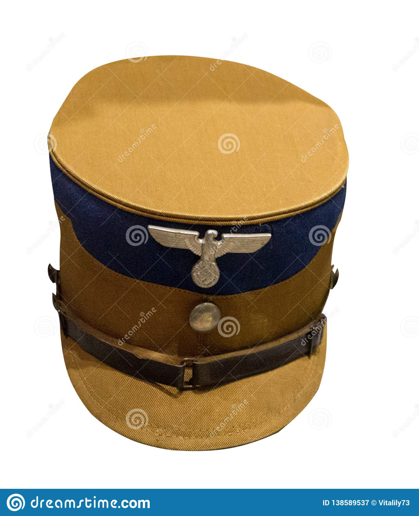 German soldier`s cap isolated on white background. peaked cap of a German soldier during the Second World War
