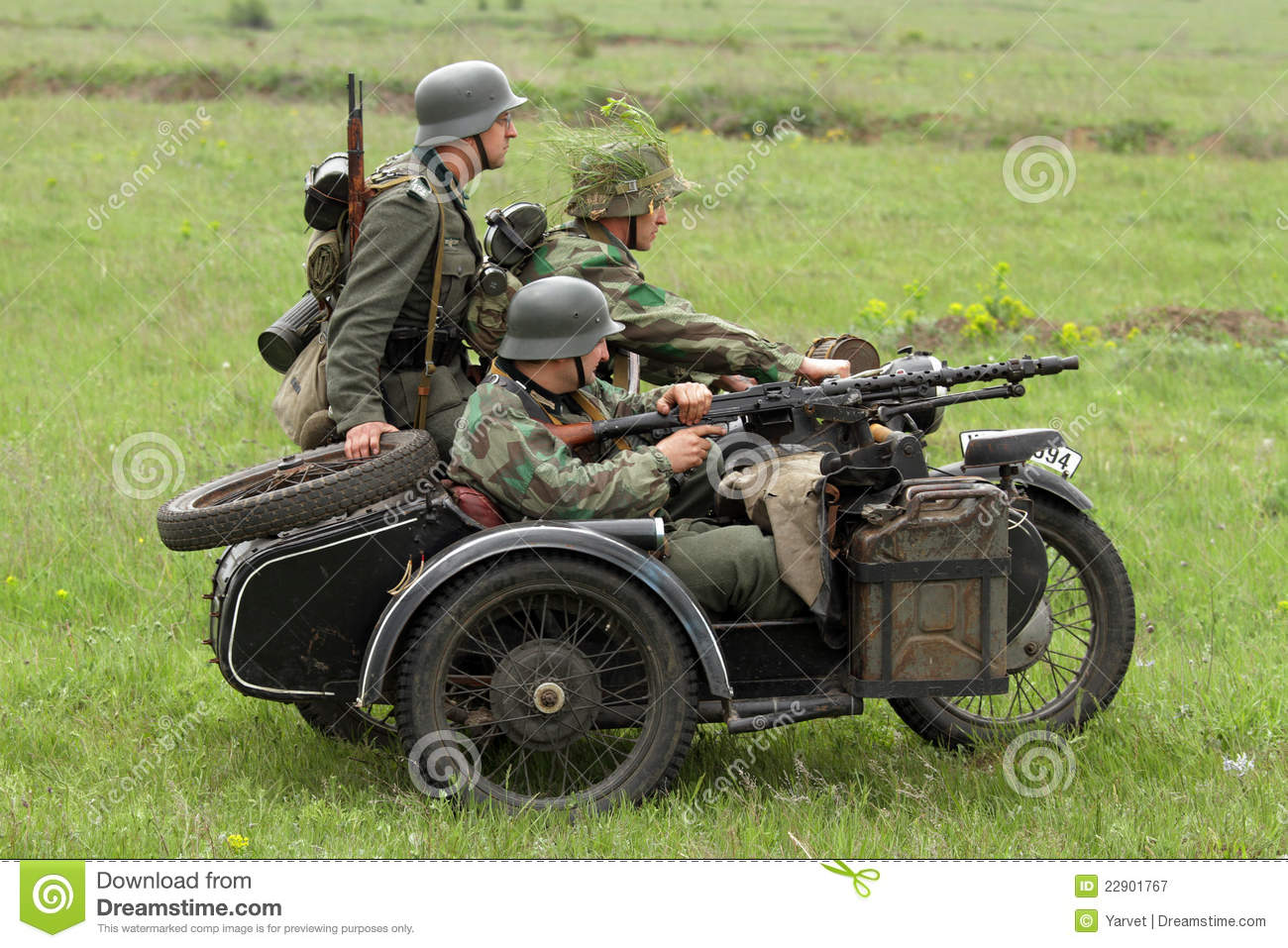German Soldiers Of WW2 In Motorbike Editorial Photography