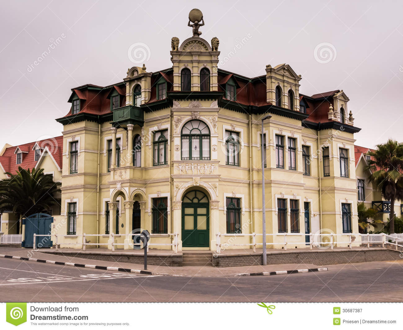 German Style Building In The Namibian Town Of Swakopmund Royalty Free ...