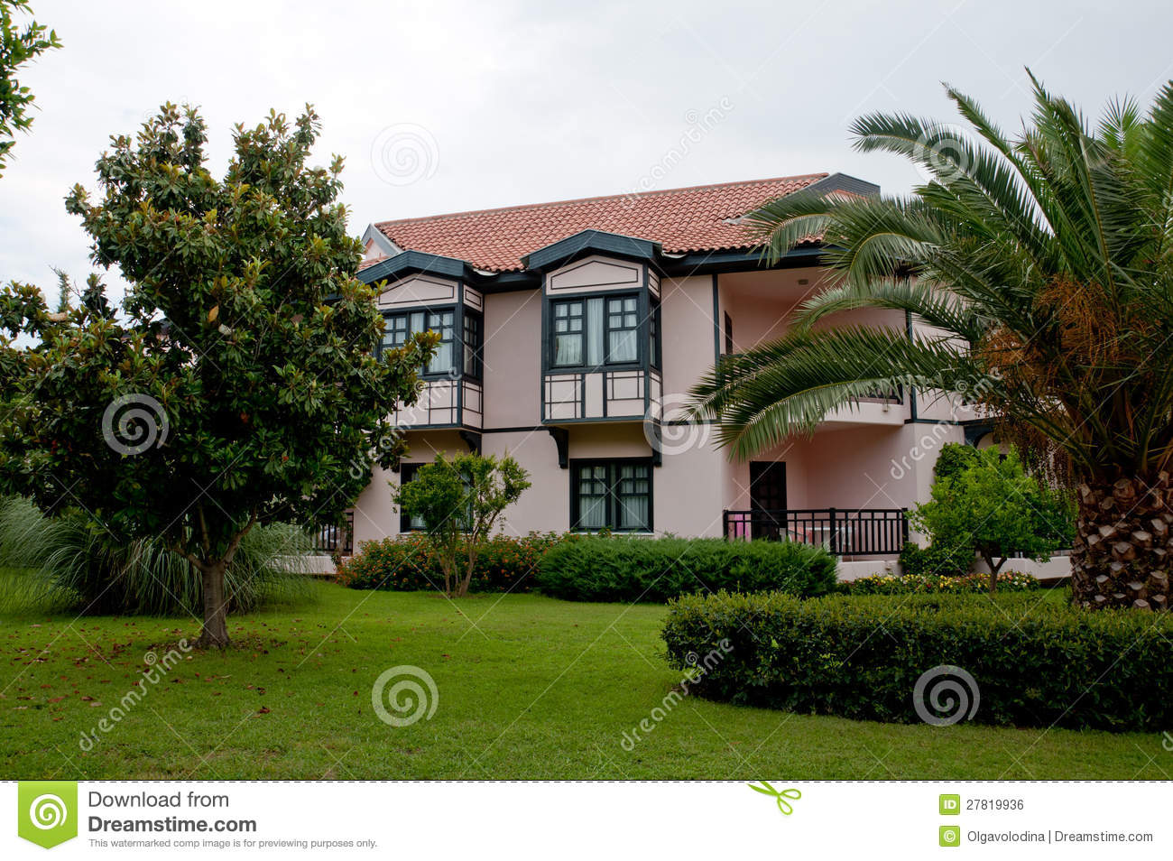 German Style House With Tropical Garden Royalty Free Stock