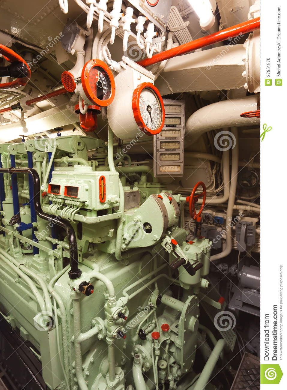 German Submarine - Diesel Engine Room Stock Photo - Image ...