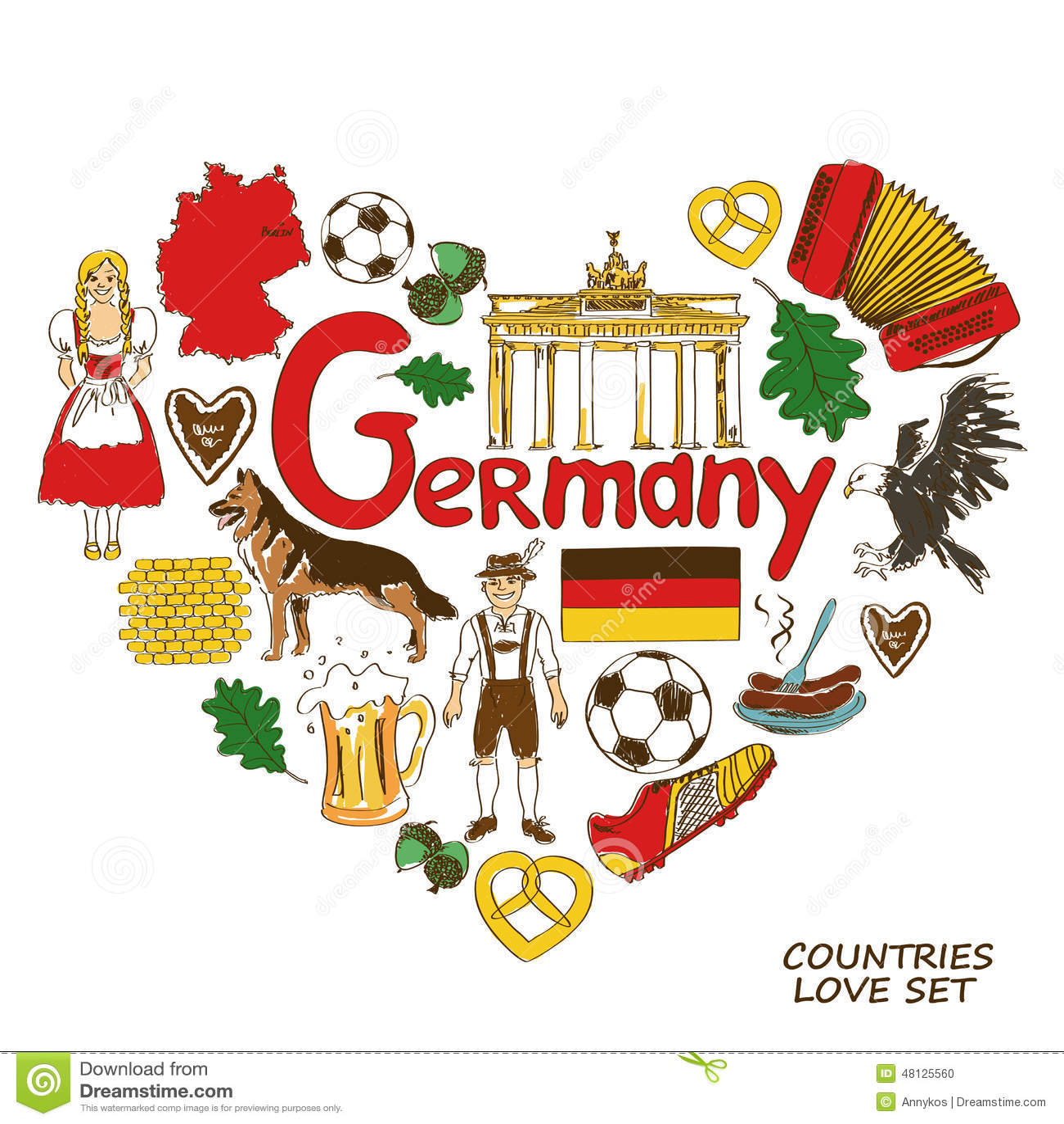 German Symbols In Heart Shape Concept Stock Vector ...
