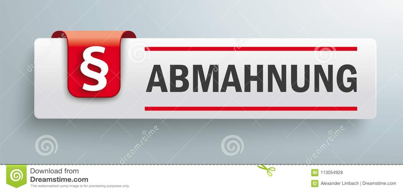 Tab With Red Marker Paragraph Abmahnung Stock Vector