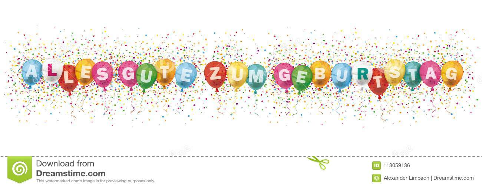 Alles Gute Geburtstag Header Colored Balloons Confetti Explosion