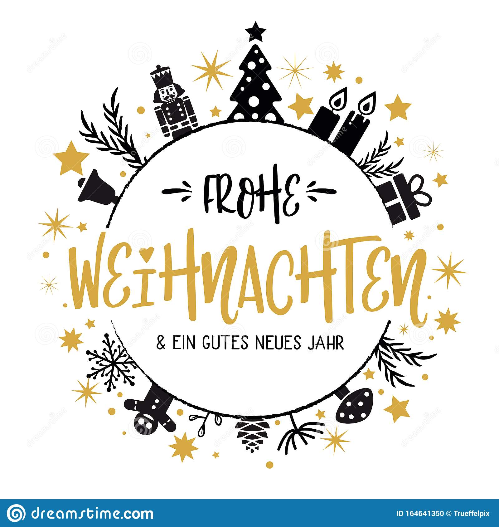 German Text Frohe Weihnachten. Merry Christmas And Happy ...