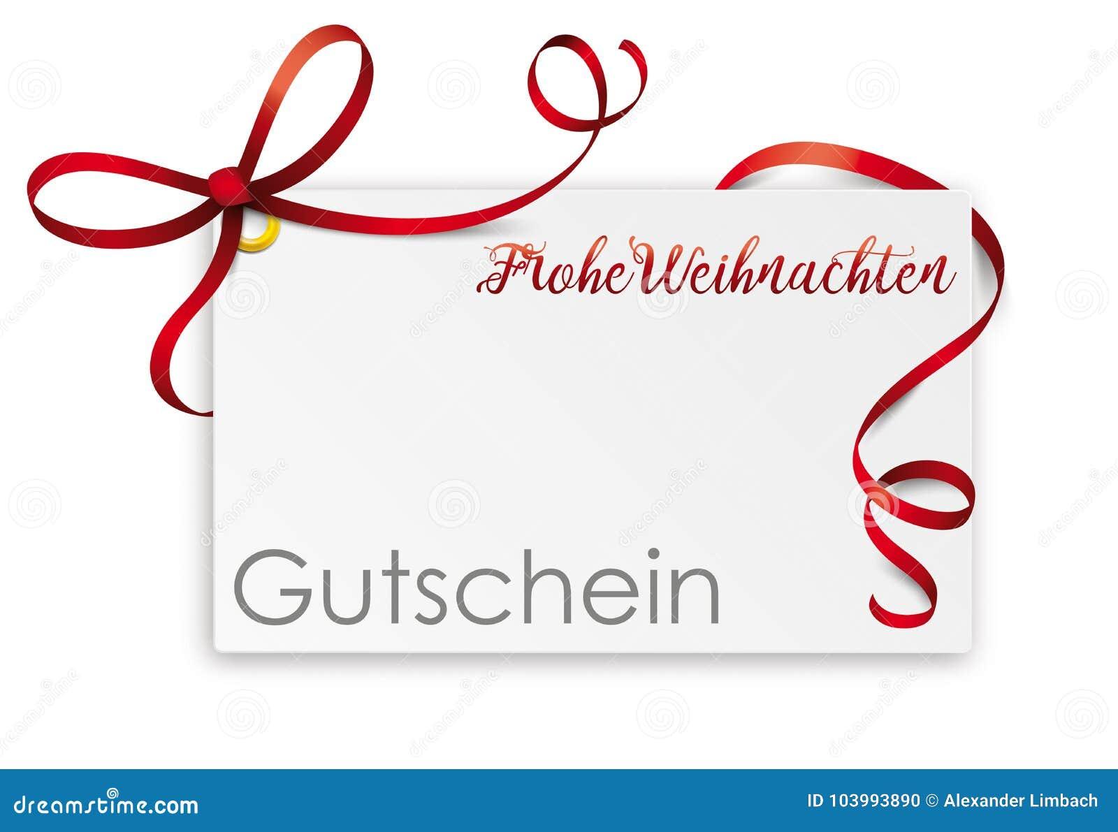 Weihnachten Bilder Mit Text.Gutschein Card Red Ribbon Frohe Weihnachten Coupon Stock Vector