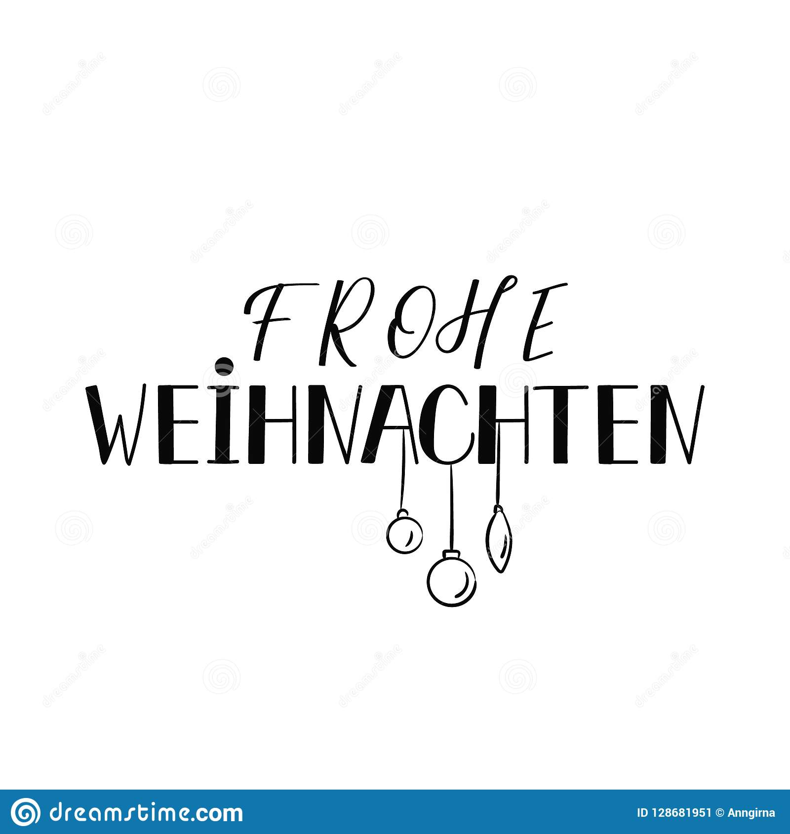 Text Frohe Weihnachten.German Text Merry Christmas Lettering Banner Calligraphy