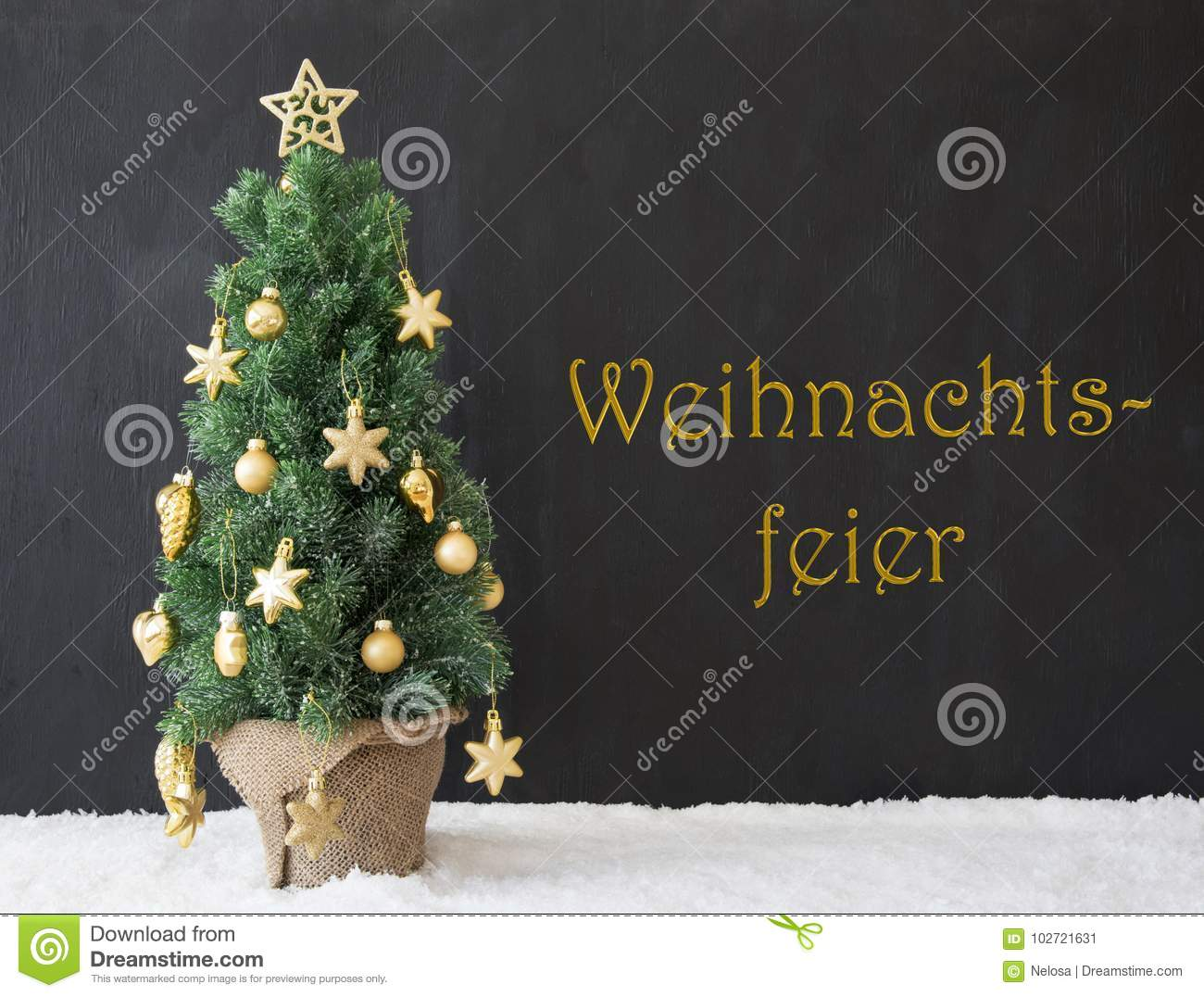 Weihnachtsfeier Style.Tree Weihnachtsfeier Means Christmas Party Black Concrete Stock