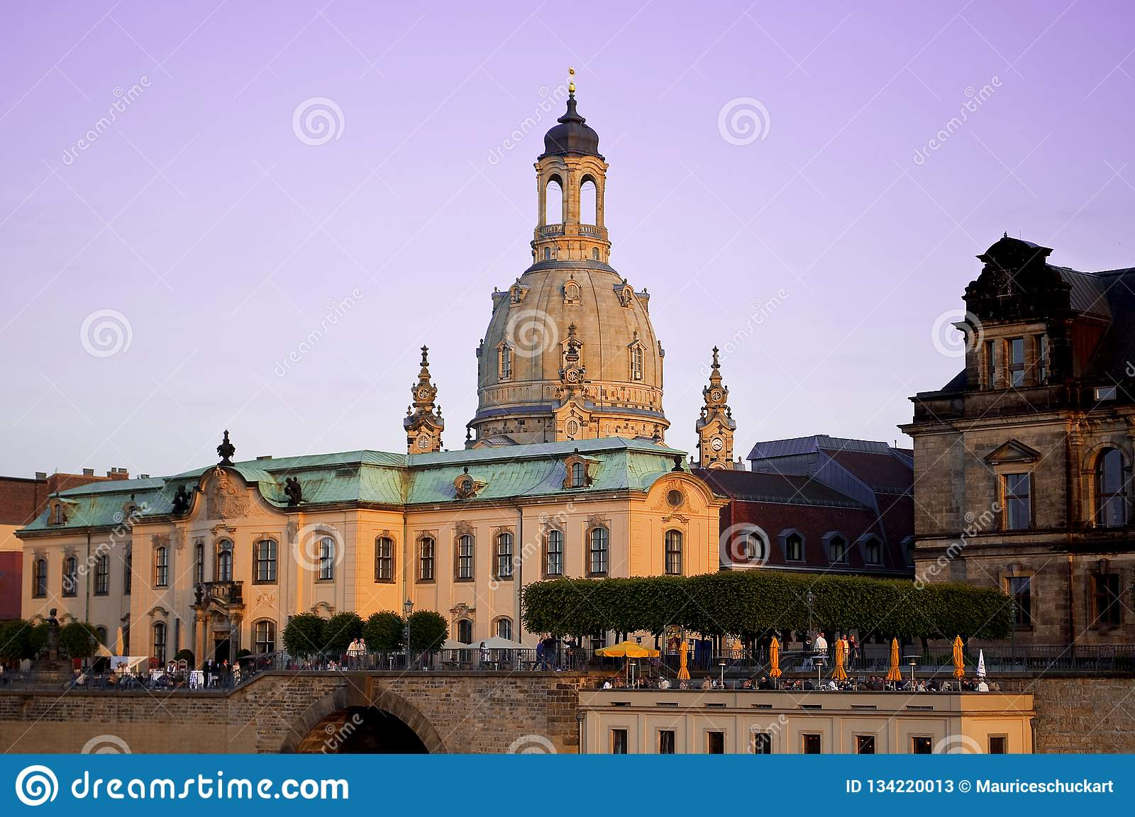 German Town Dresden with church Frauenkirche