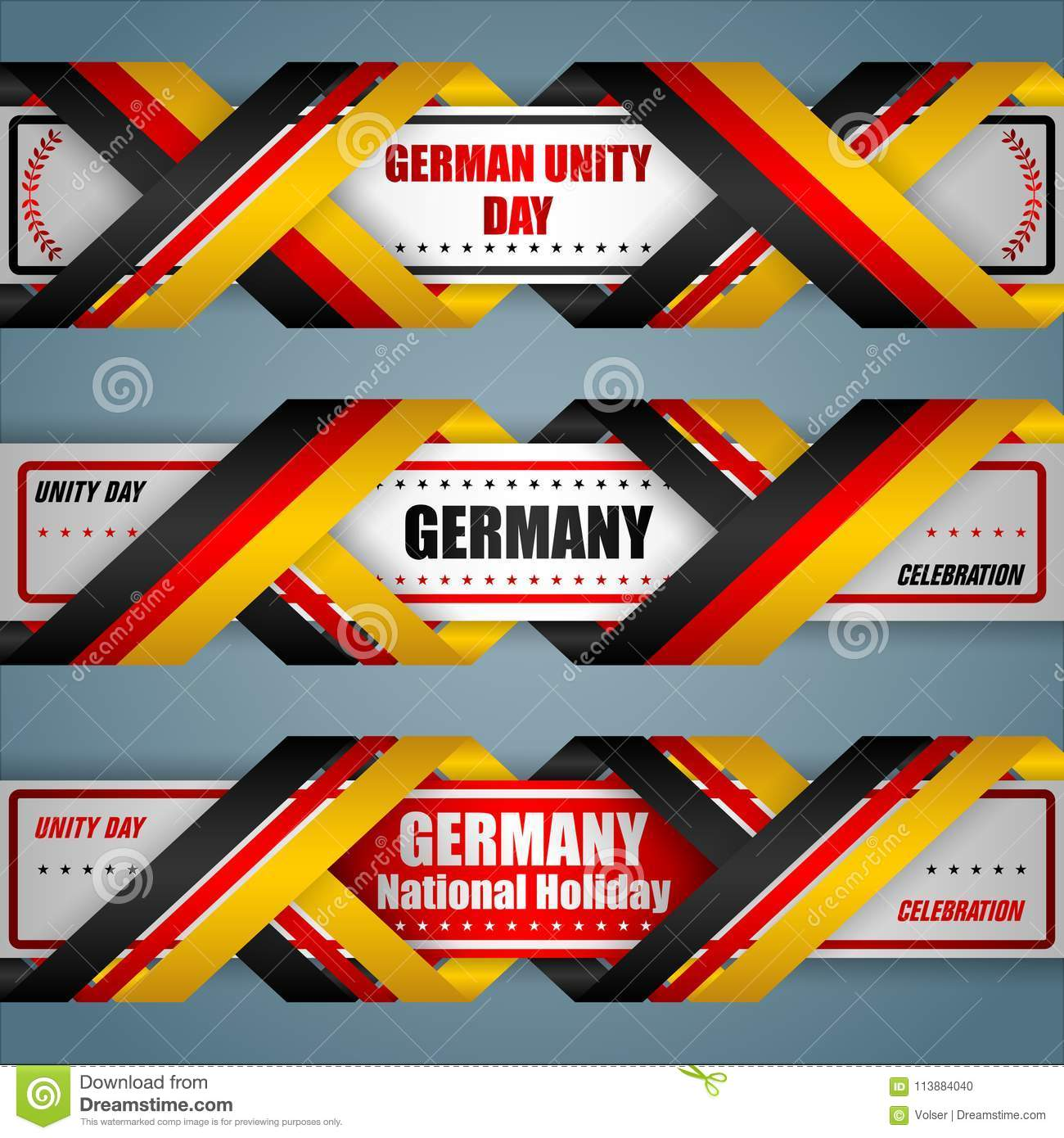 German Unity Day, Web Banners Stock Vector - Illustration of