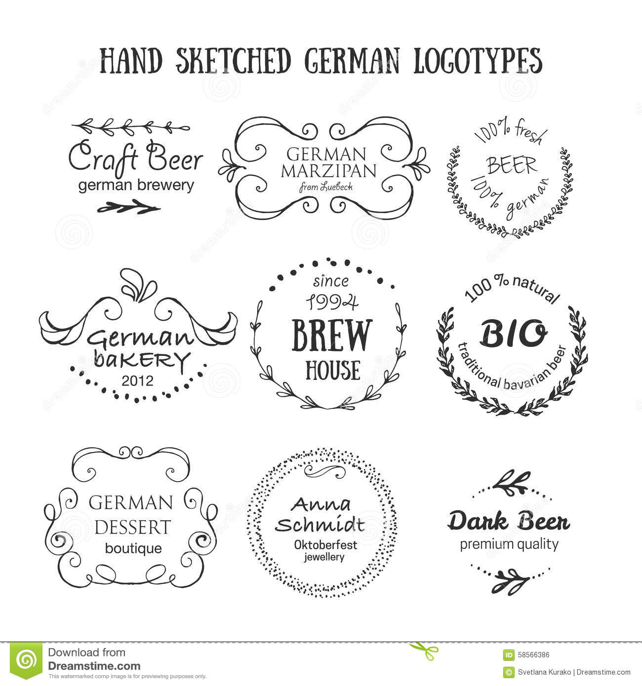 German Vintage Badges And Icons Stock Vector Image 58566386
