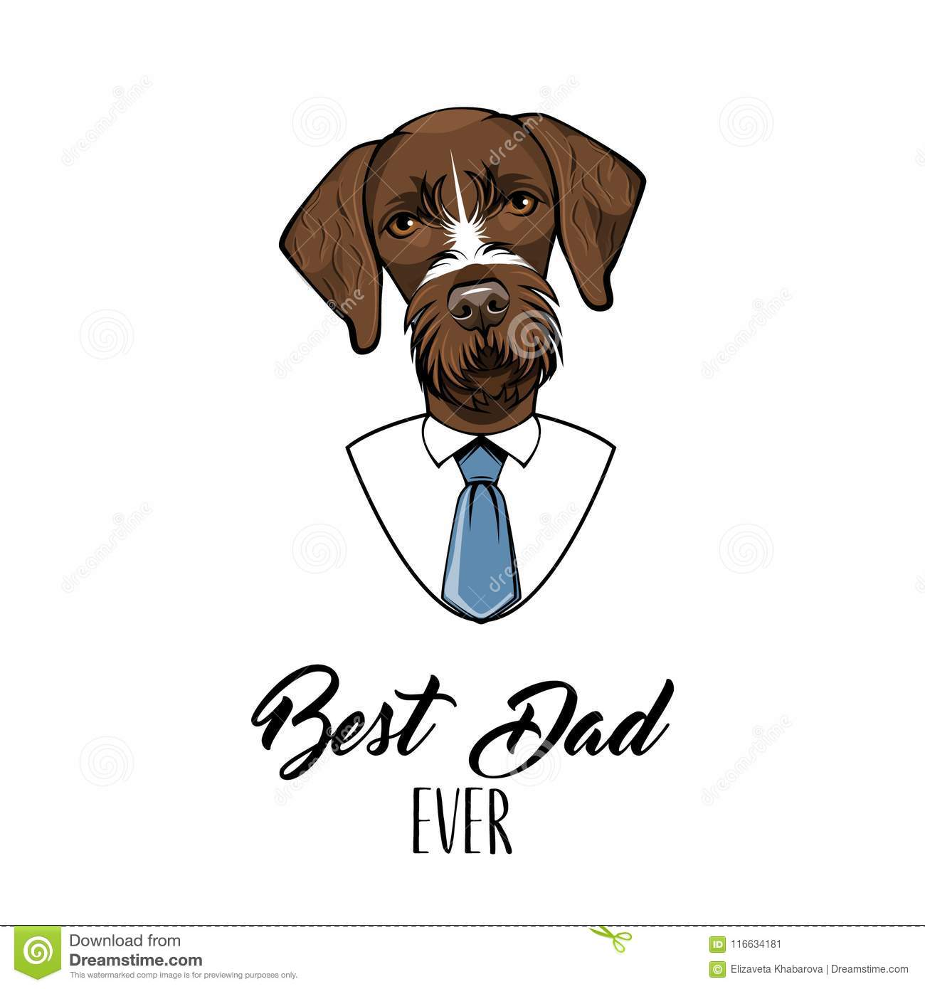 German Wirehaired Pointer. Fathers Day Holiday Card. Best Dad Ever ...