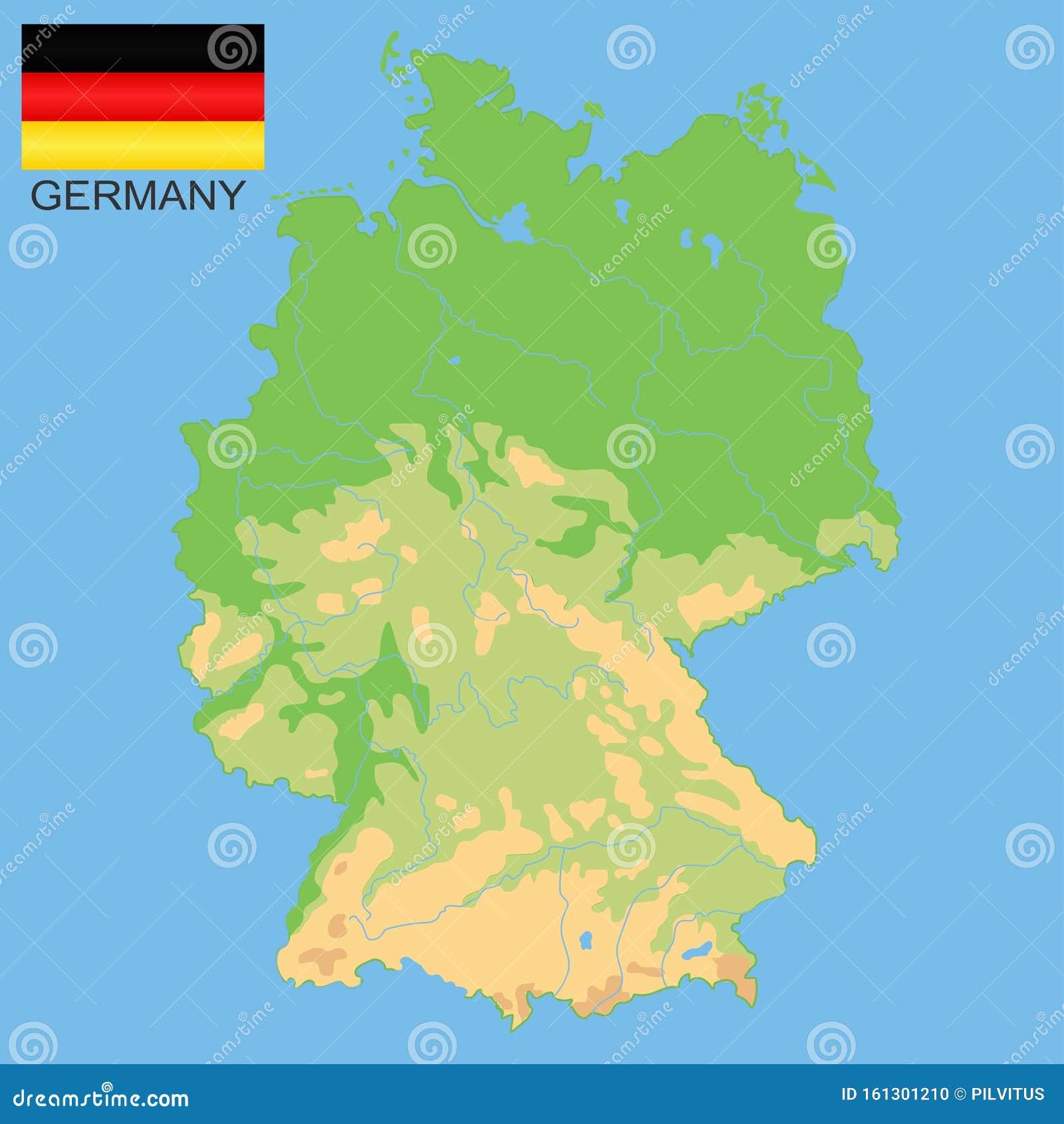 Cartina Germania Con Fiumi.Germania Mappa Fisica Dettagliata Della Germania Colorata In Base All Elevazione Con Fiumi Laghi Montagne Mappa Vettoriale Con Illustrazione Vettoriale Illustrazione Di Cartografia Profilo 161301210